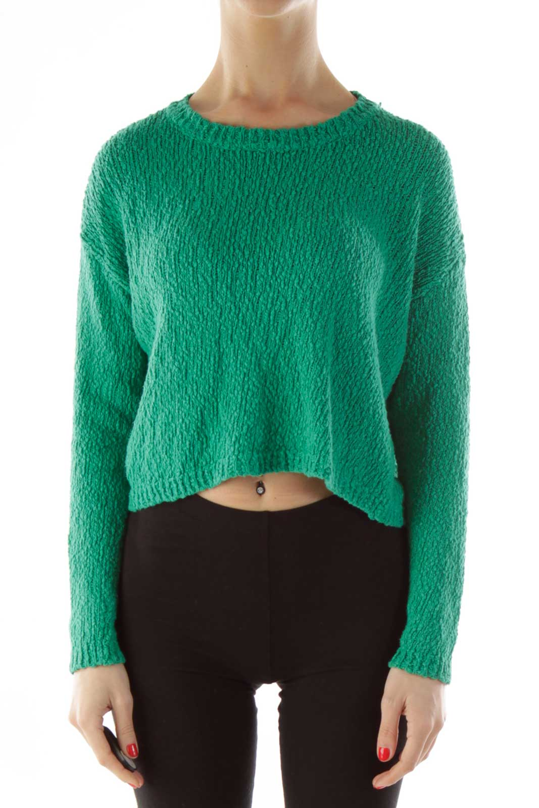 Green Knit Cropped Sweater Front