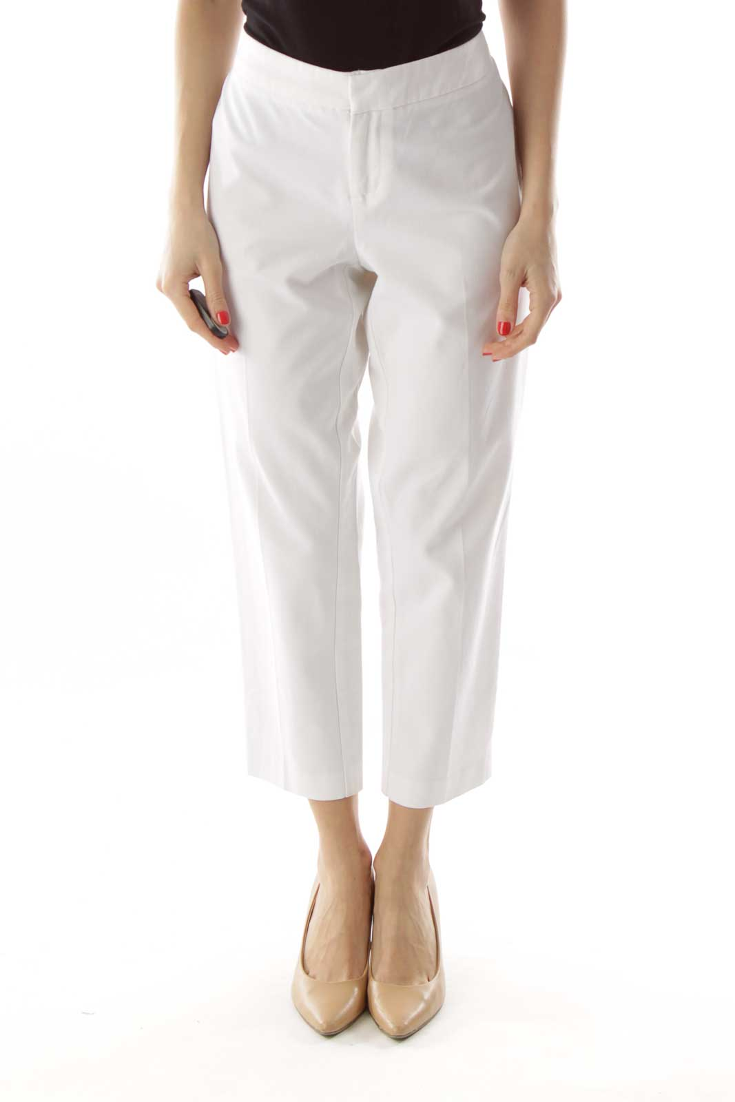 White Fitted Cropped Pants Front