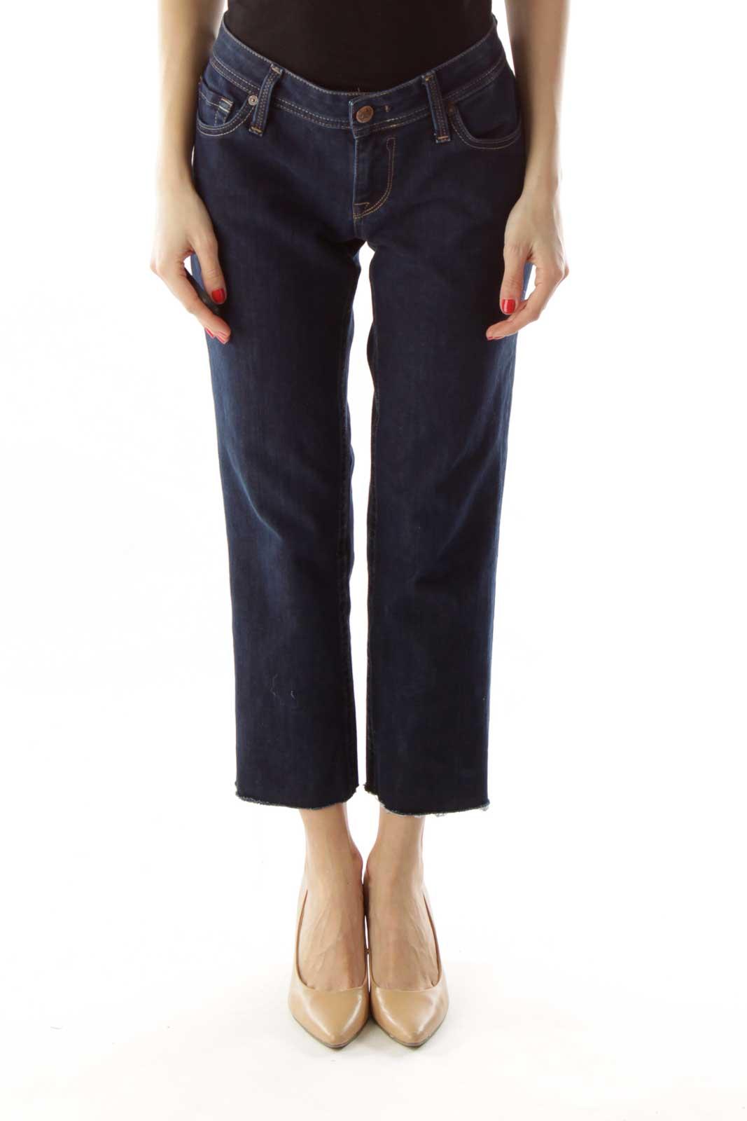 Dark Denim Cropped Jeans Front