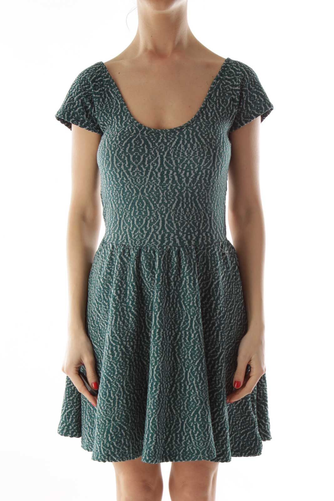 Green Textured A-Line Dress Front