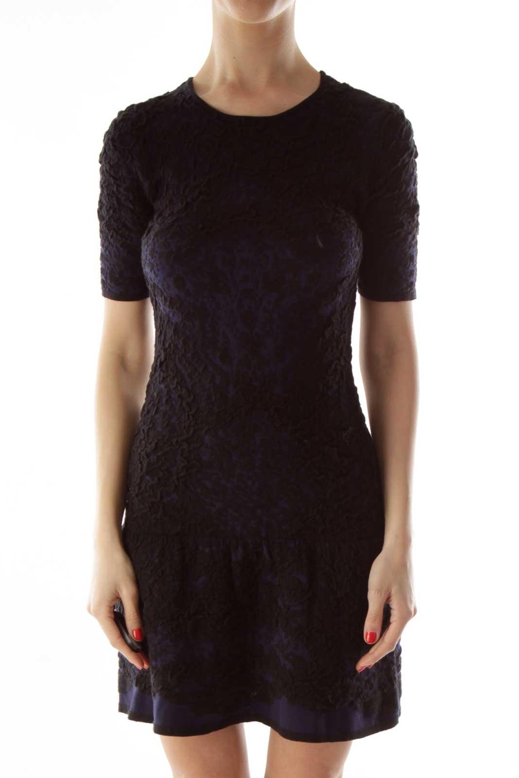Black Navy Short-Sleeve Textured Elastic Dress Front
