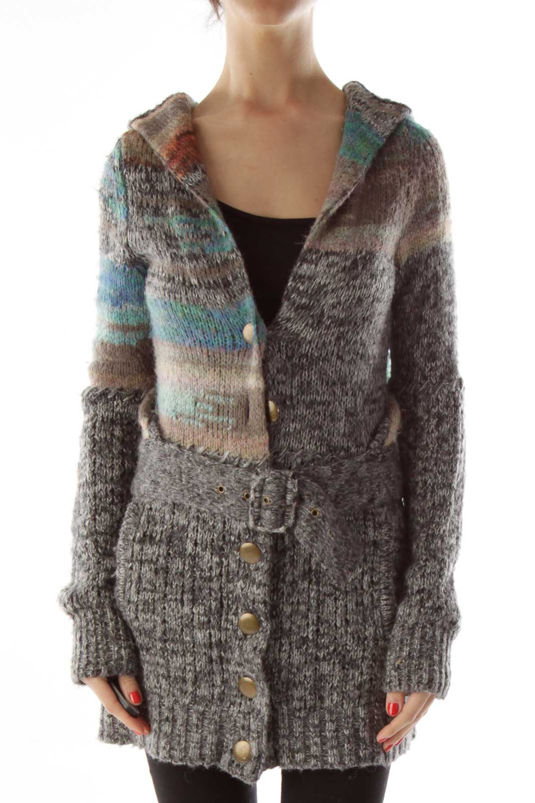 Gray Multicolor Buttoned Hooded Cardigan Front