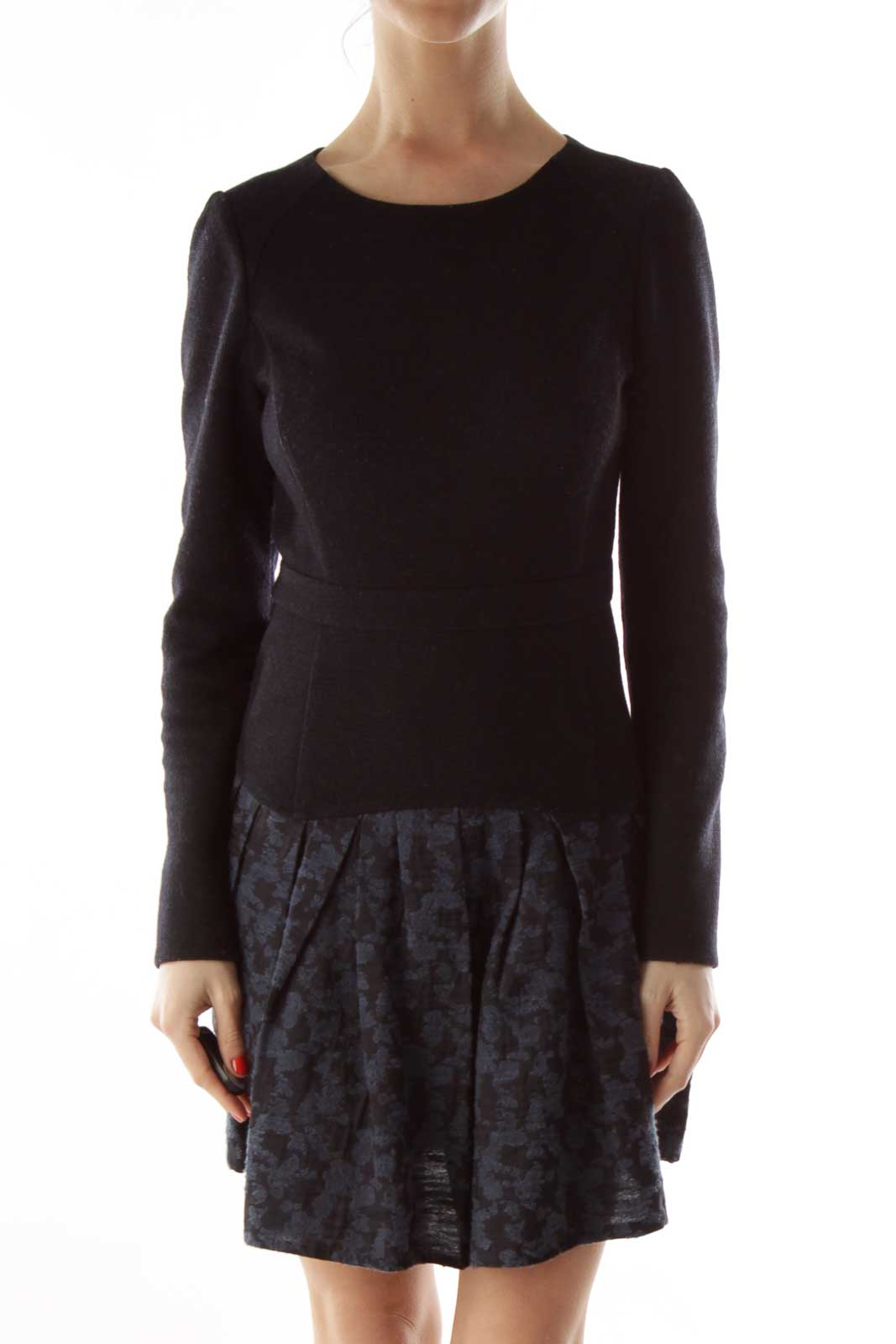 Black Navy Knit Dress Front
