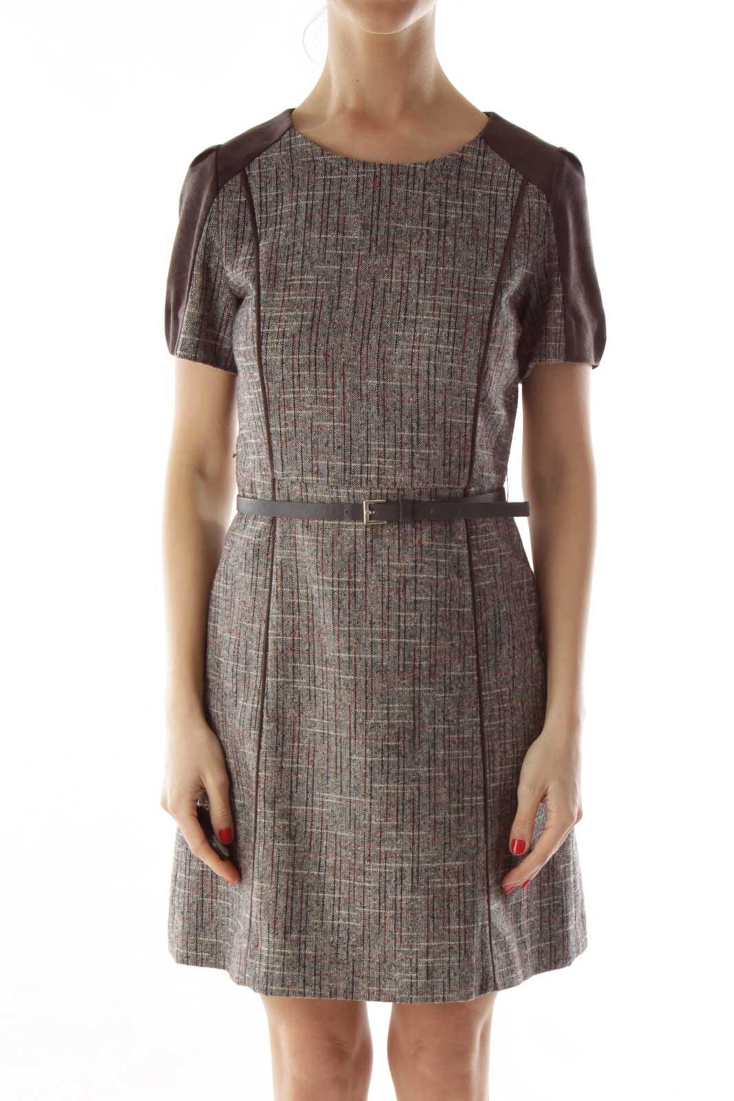Brown Tweed Swede Belted Work Dress Front