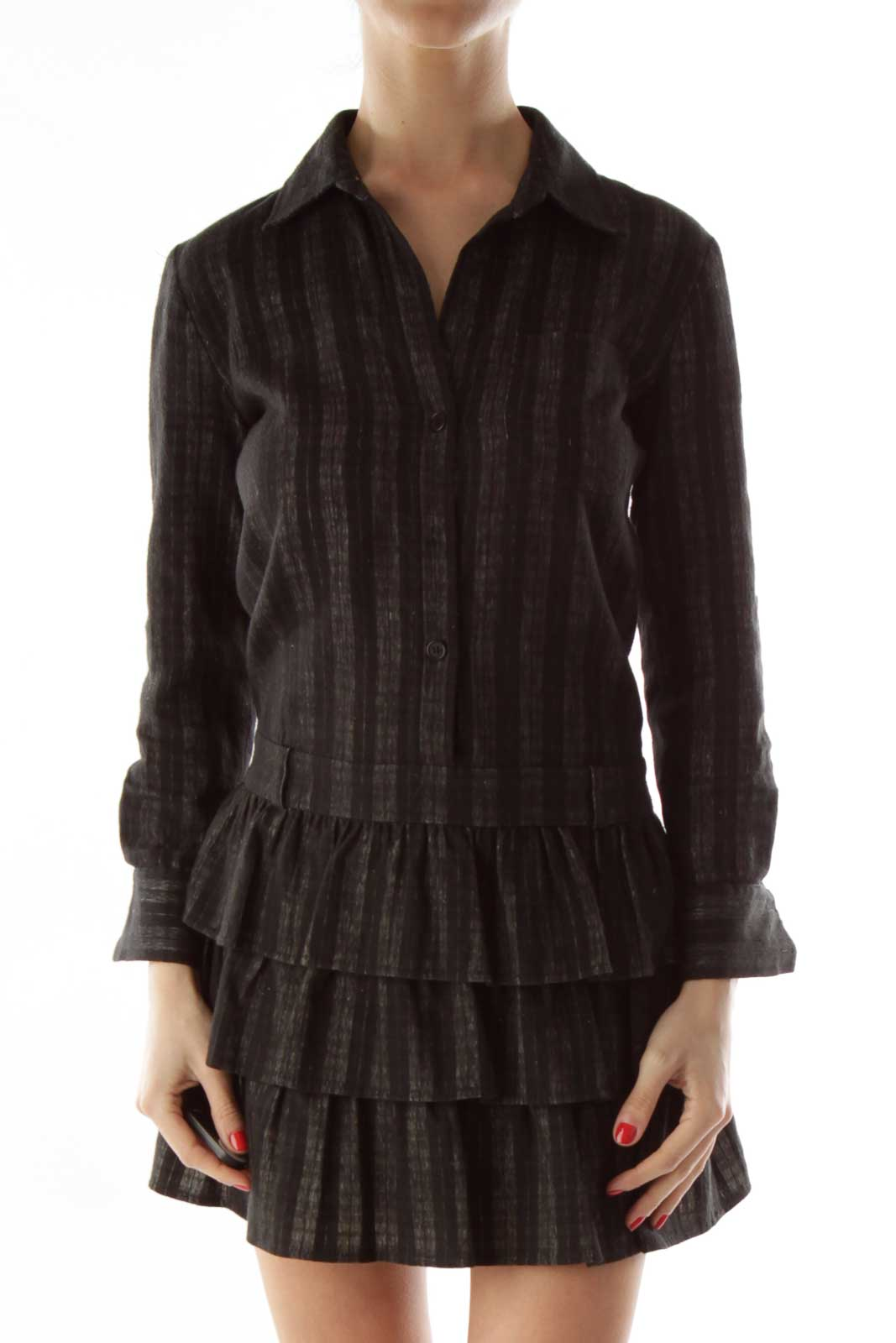 Gray Black Striped Ruffled Day Dress Front