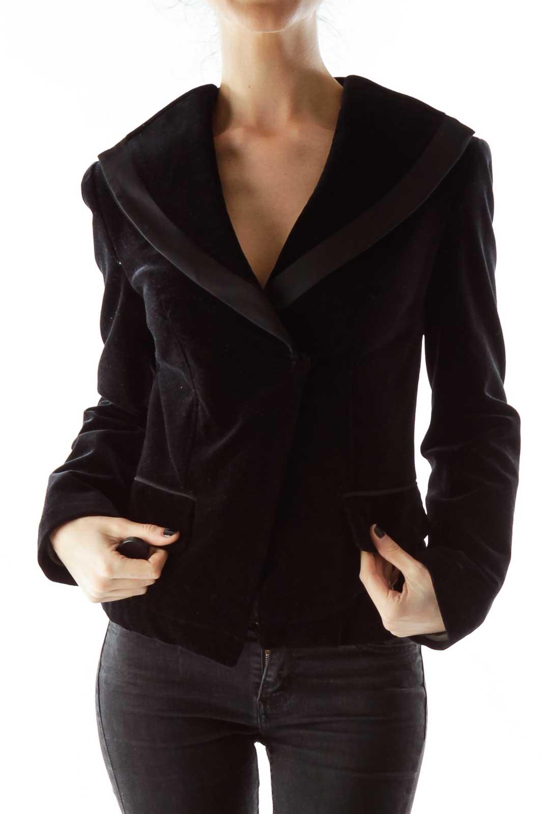 Black Velvet Pocketed Blazer Front
