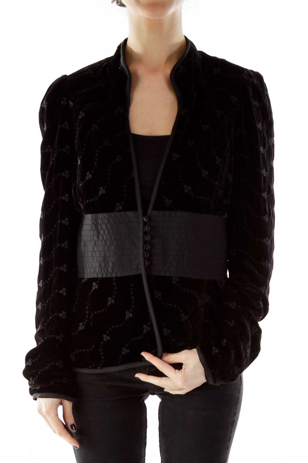 Black Velvet Fitted Jacket Front