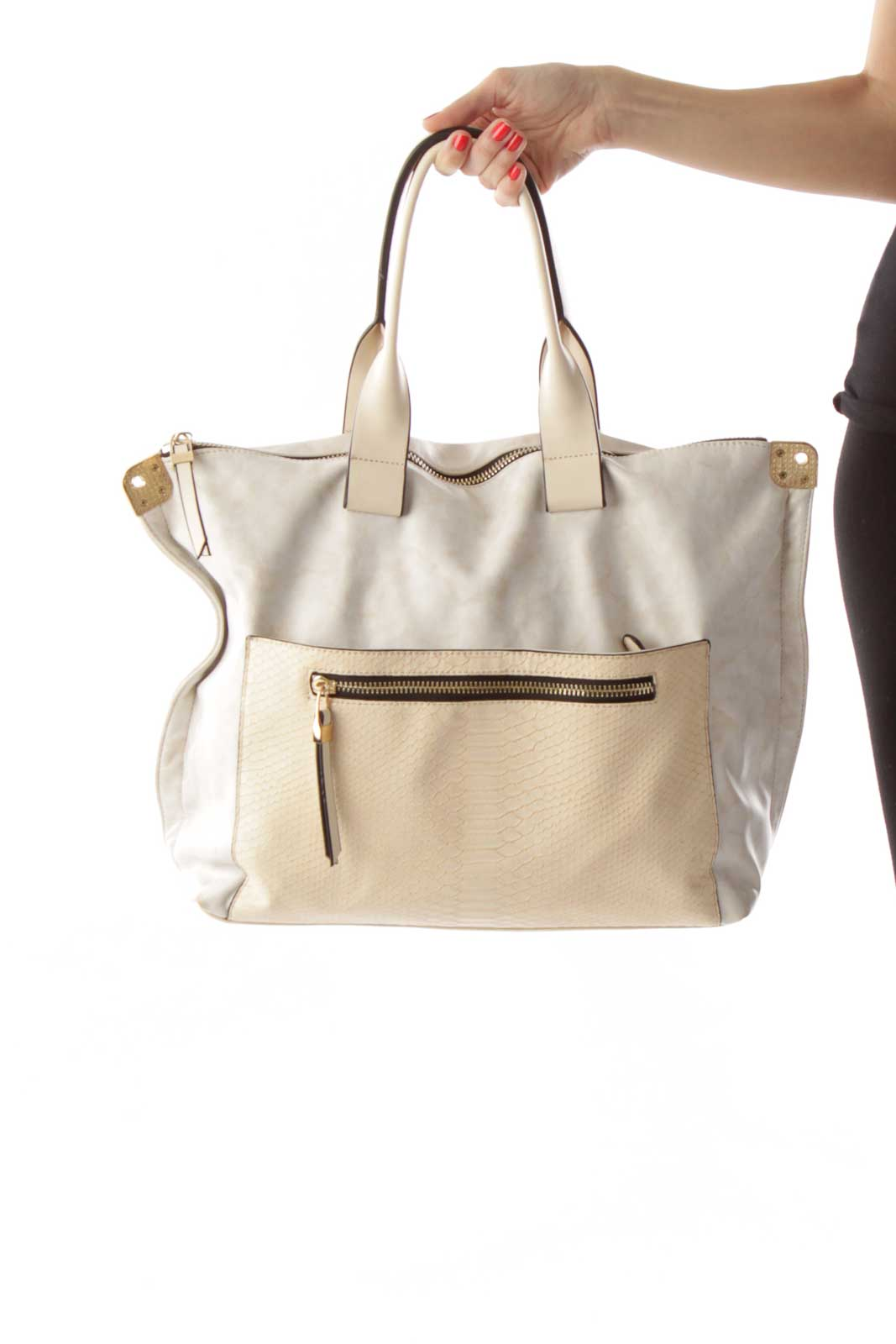 Cream Pleather & Snakeskin Print Tote Front