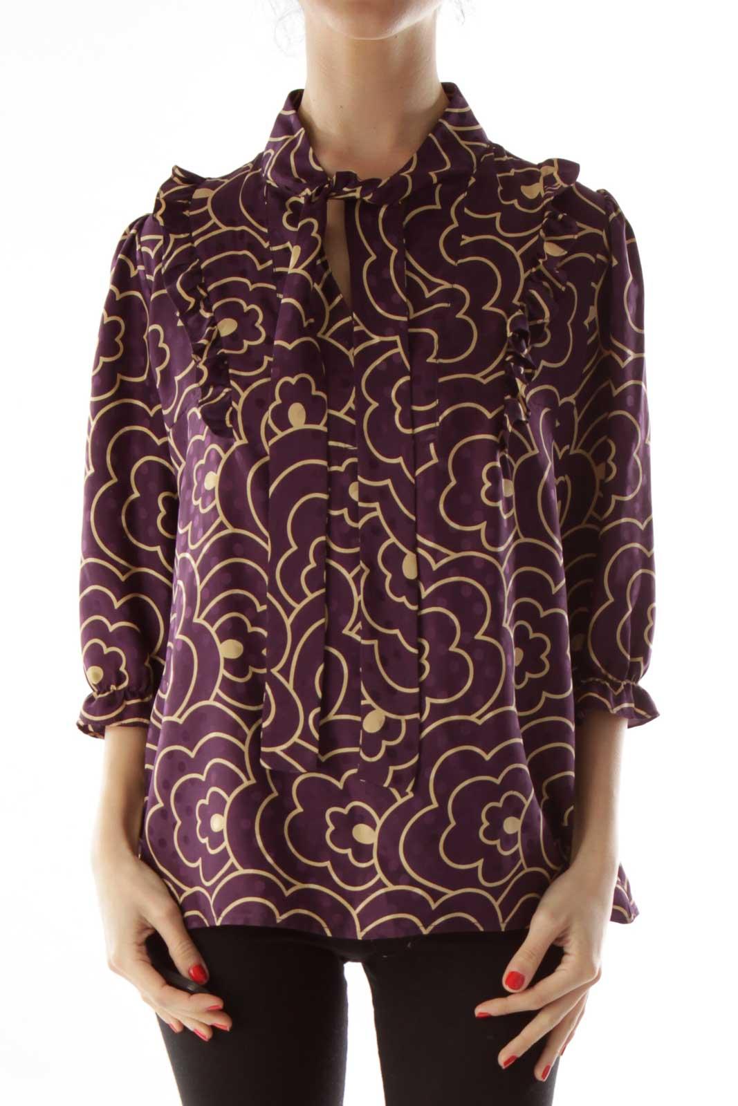 Purple Gold Silk Blouse Front