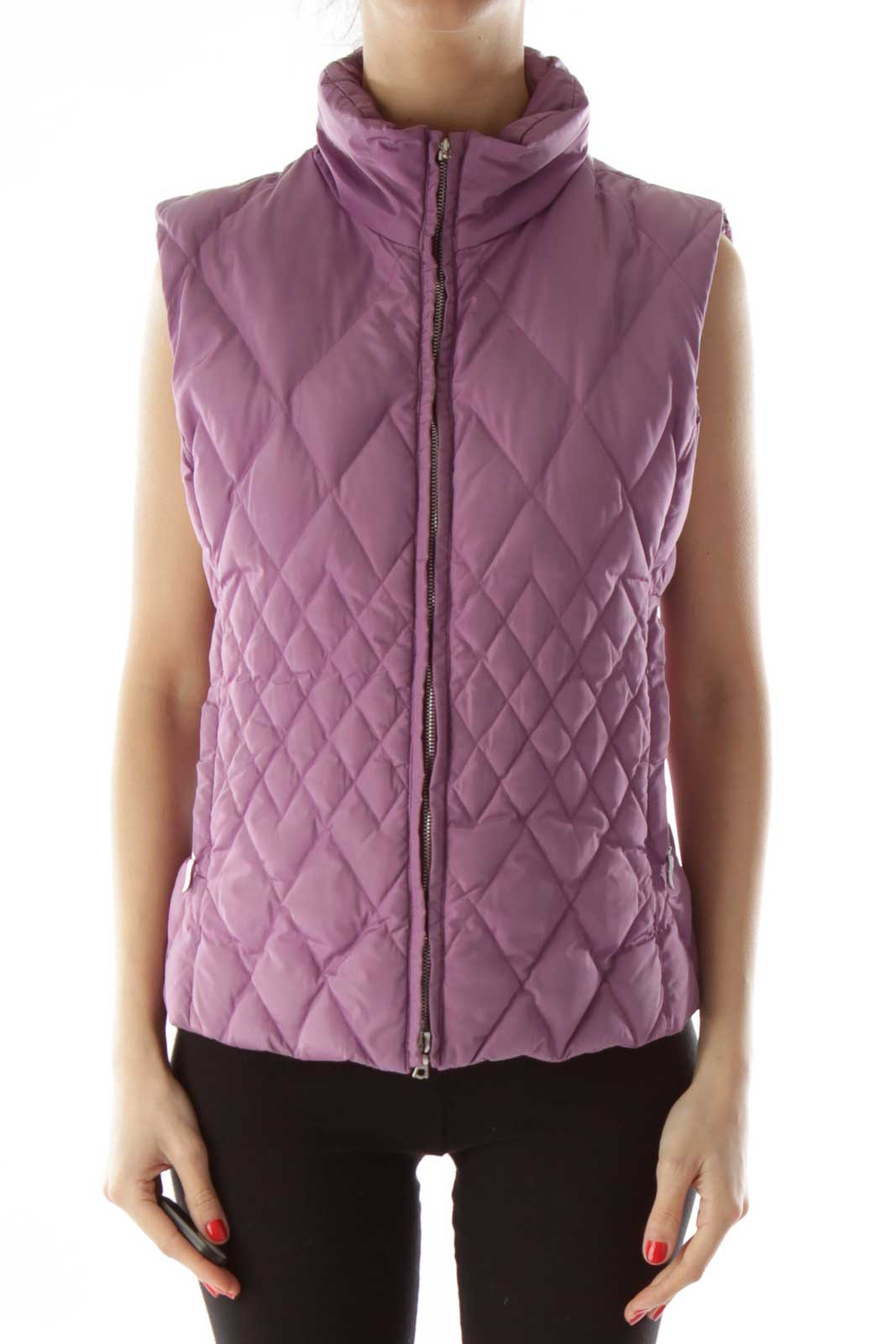 Purple Quilted Puffy Vest Front