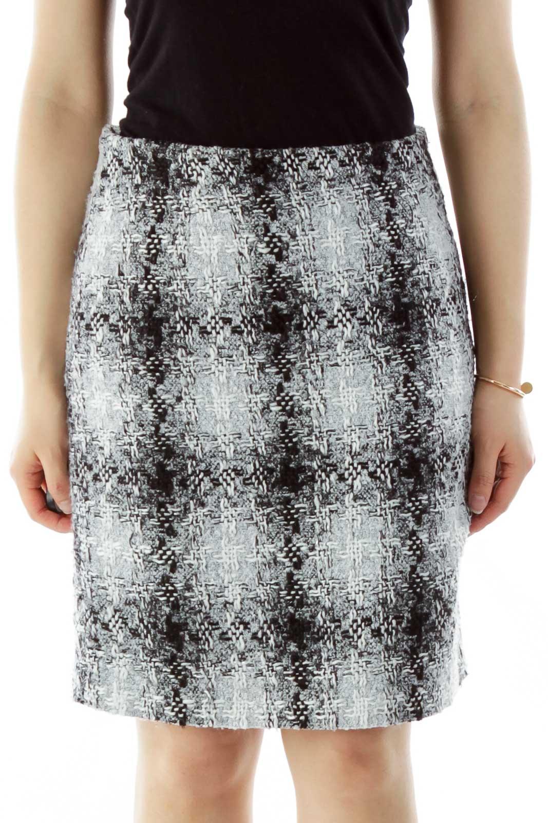 Black Gray Tweed Pencil Skirt Front