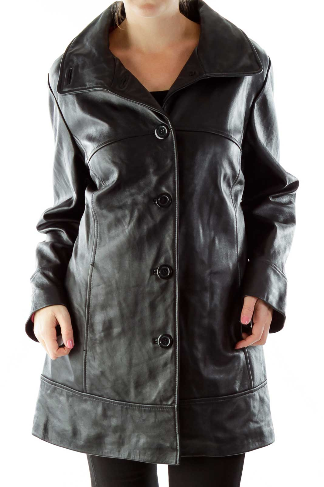 Black Leather Coat Front