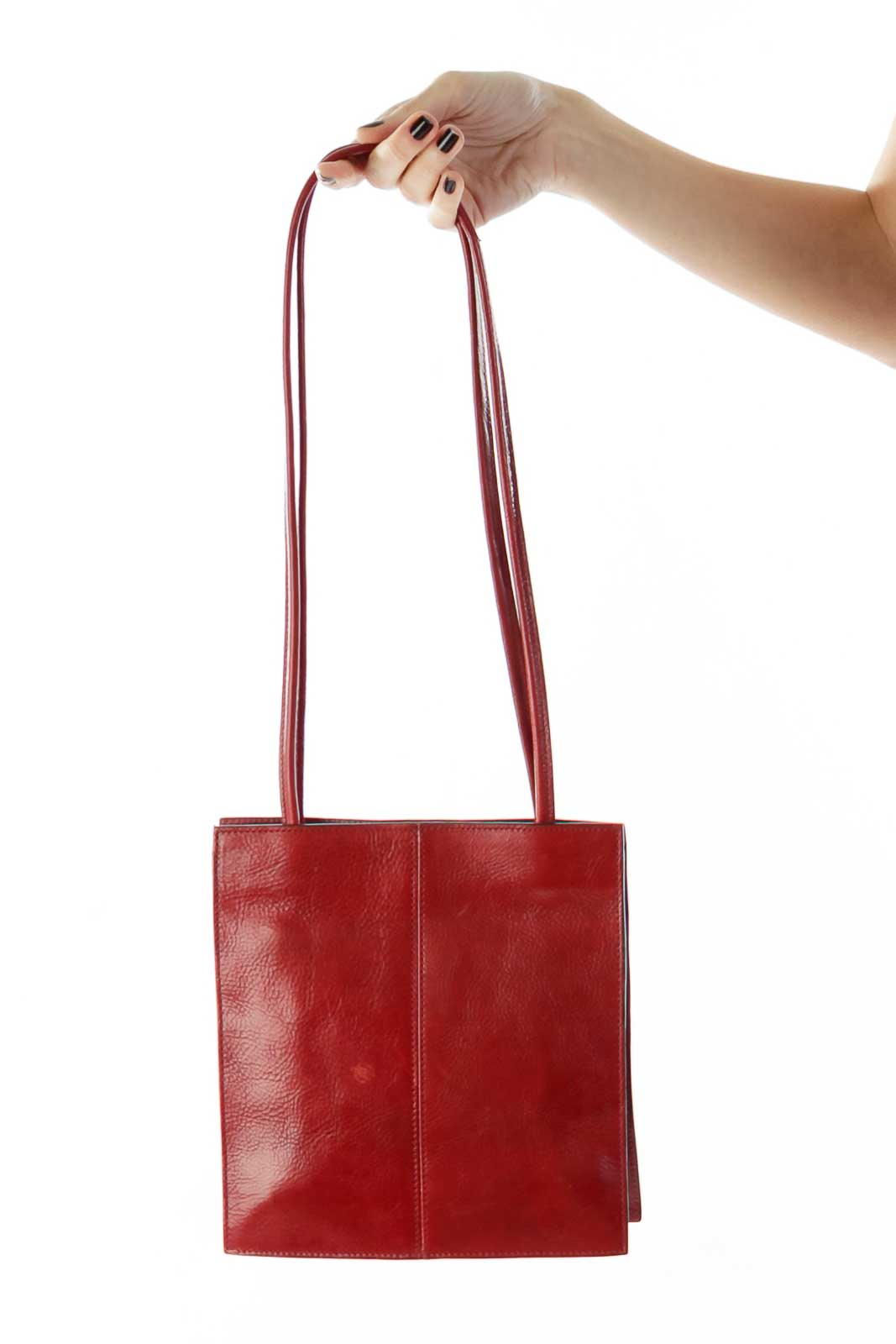 Red Leather Shoulder Bag Front