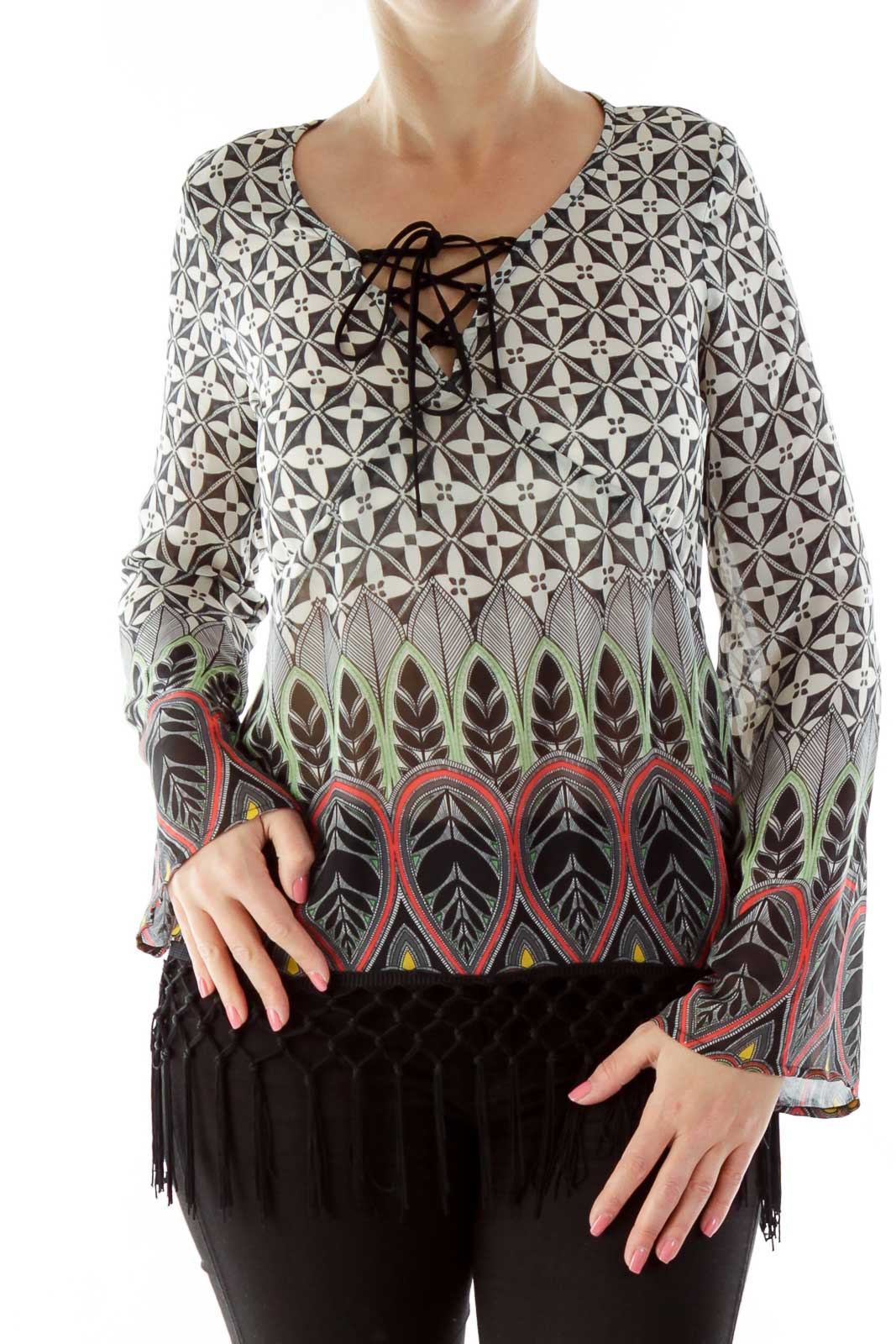 Black Red Green Print Top Front