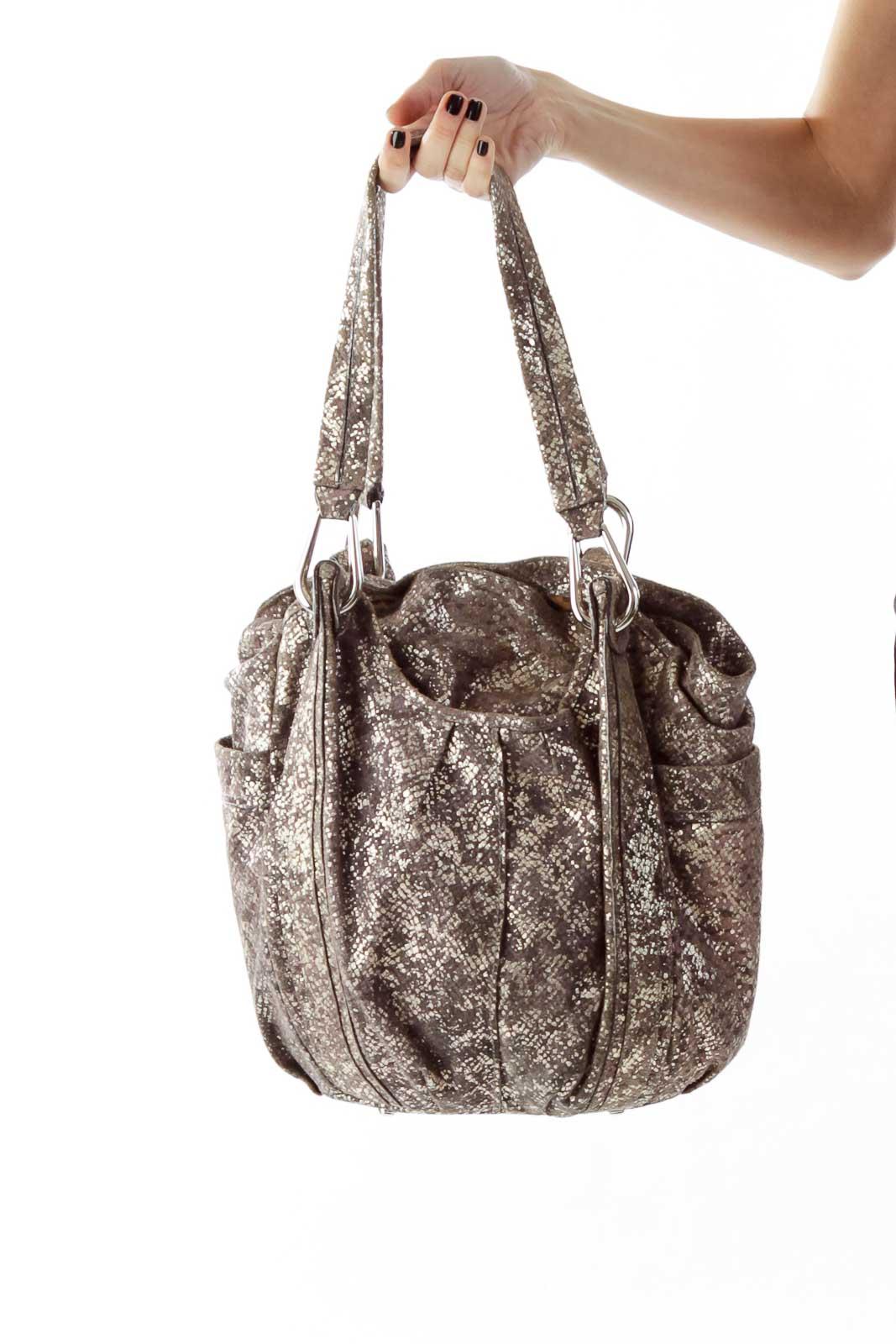 Gold Brown Leather Shoulder Bag Front