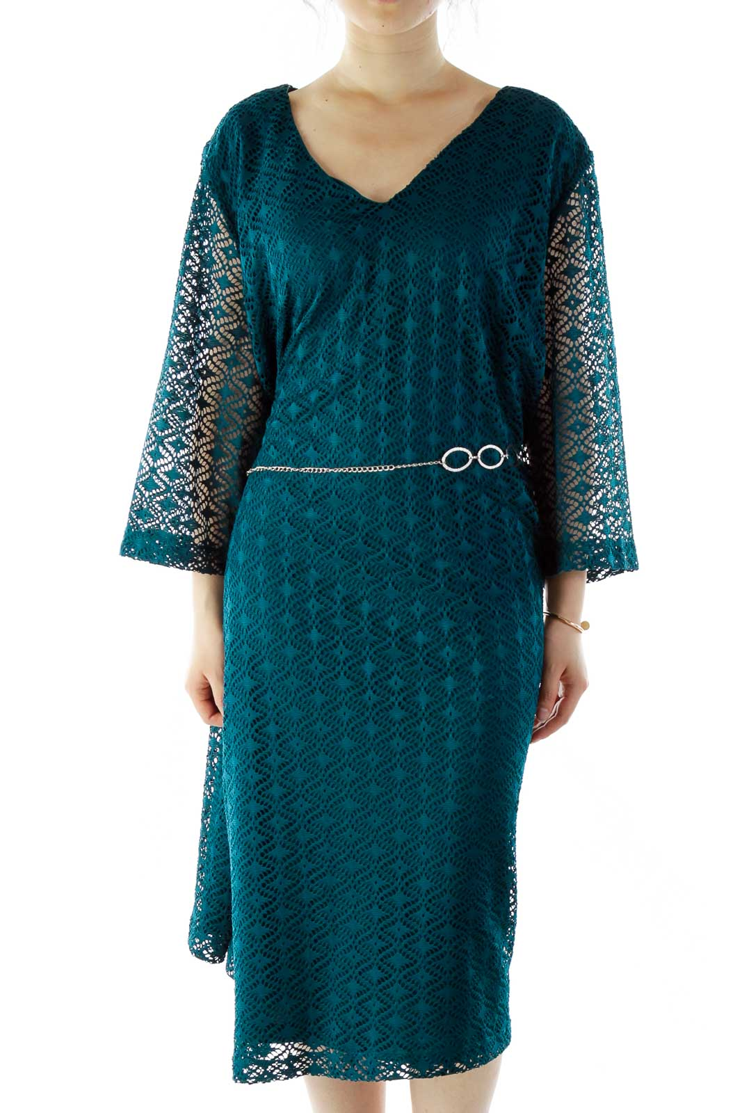 Green Crocheted Day Dress Front