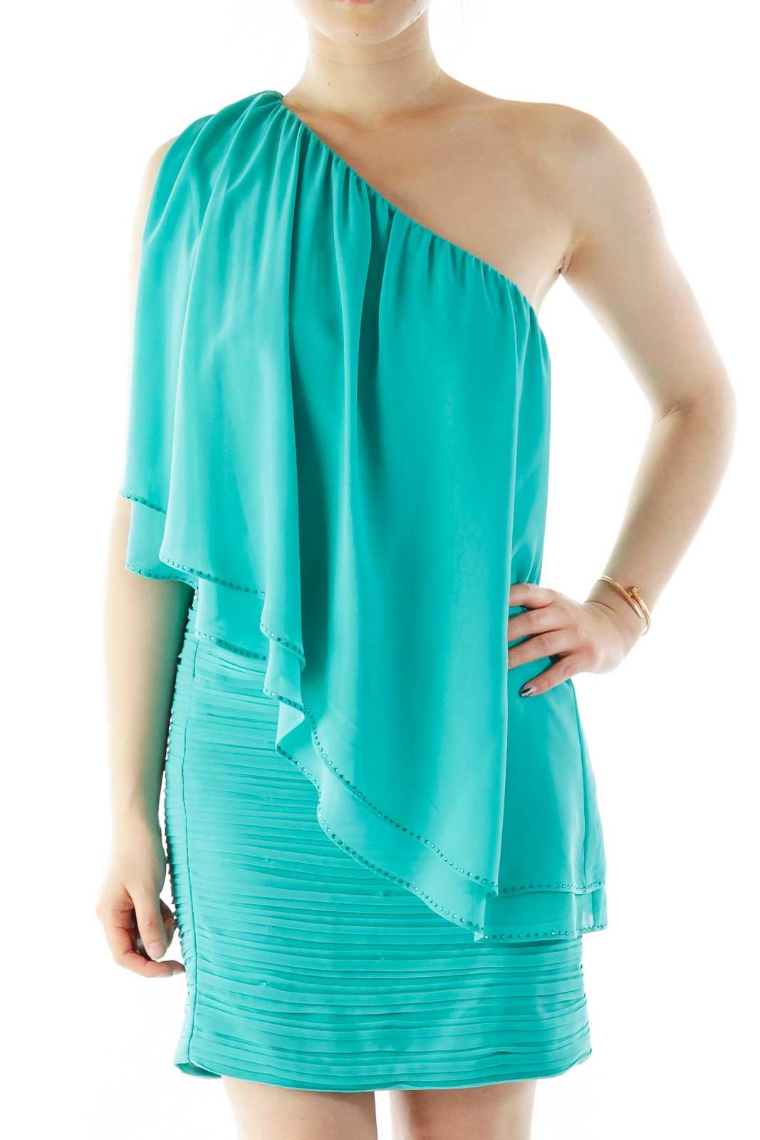 Turquoise Crêpe One-Shoulder Cocktail Dress Front