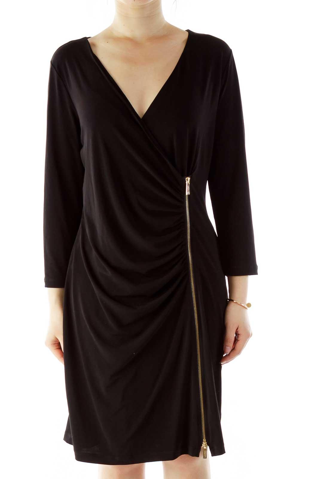 Black Zippered V-Neck Work Dress Front
