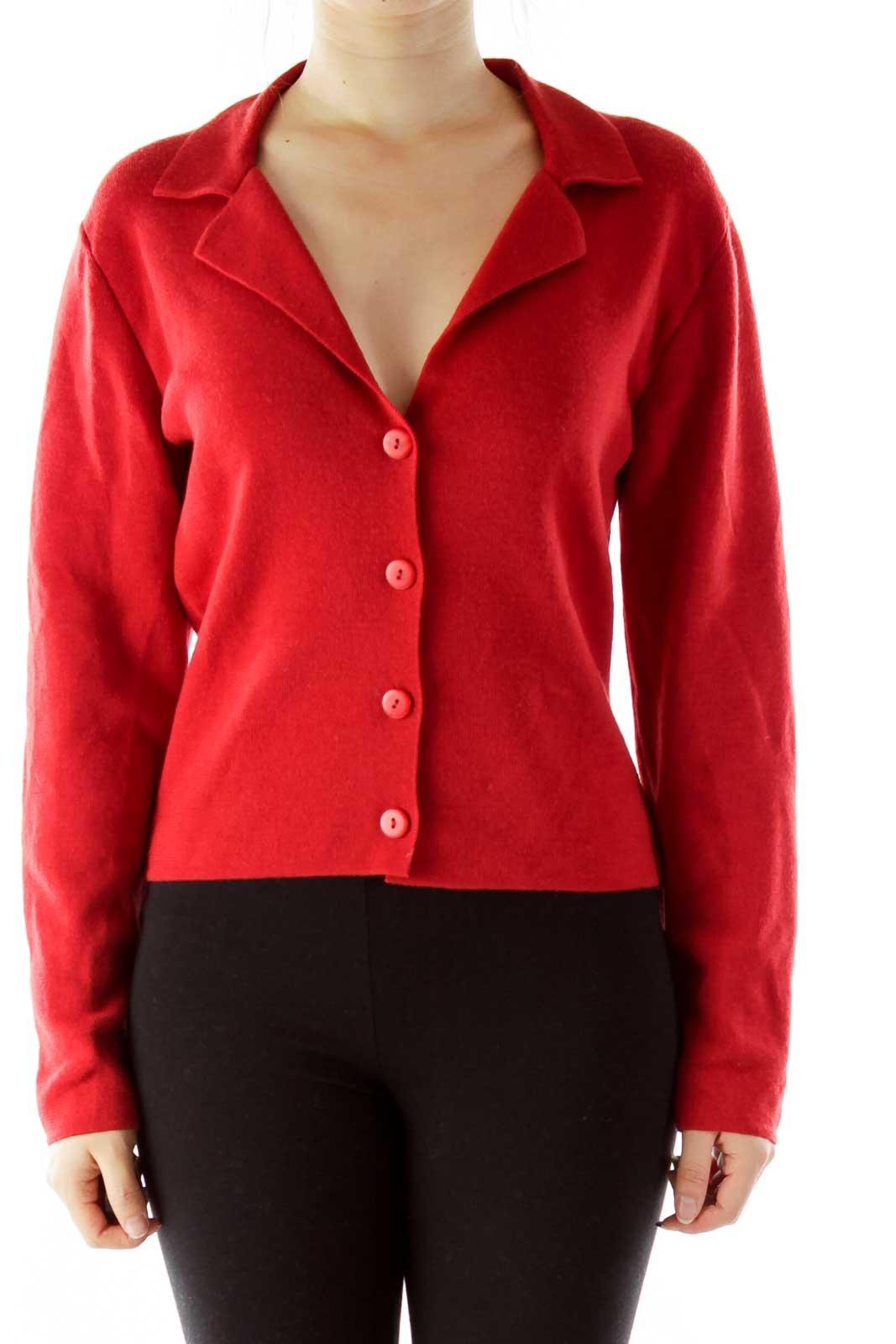 Red Merino Wool Cardigan Front