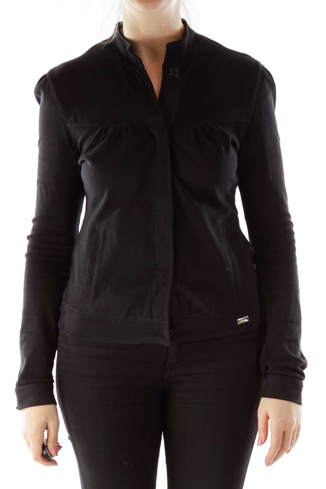 Black Buttoned Jacket Front