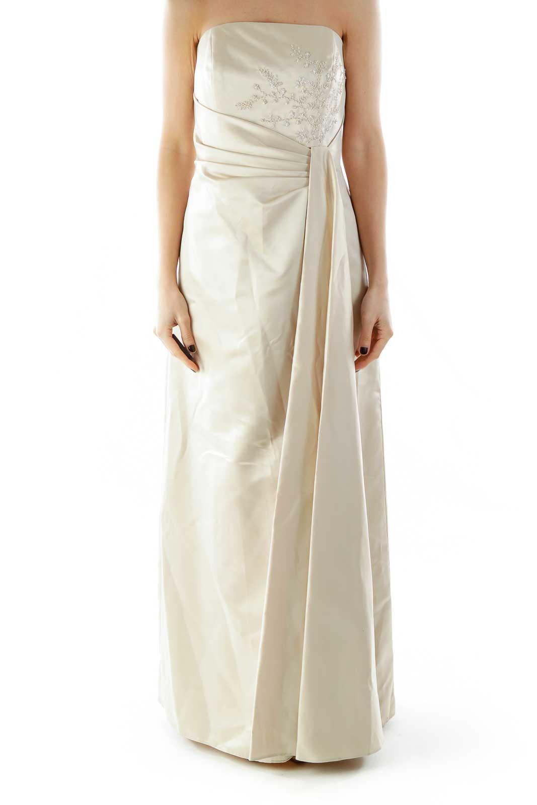Beige Strapless Beaded Dress Front
