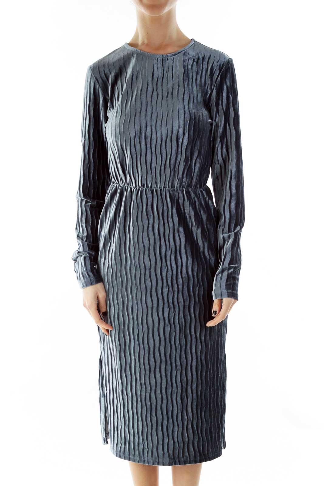 Blue Velvet Dress Front