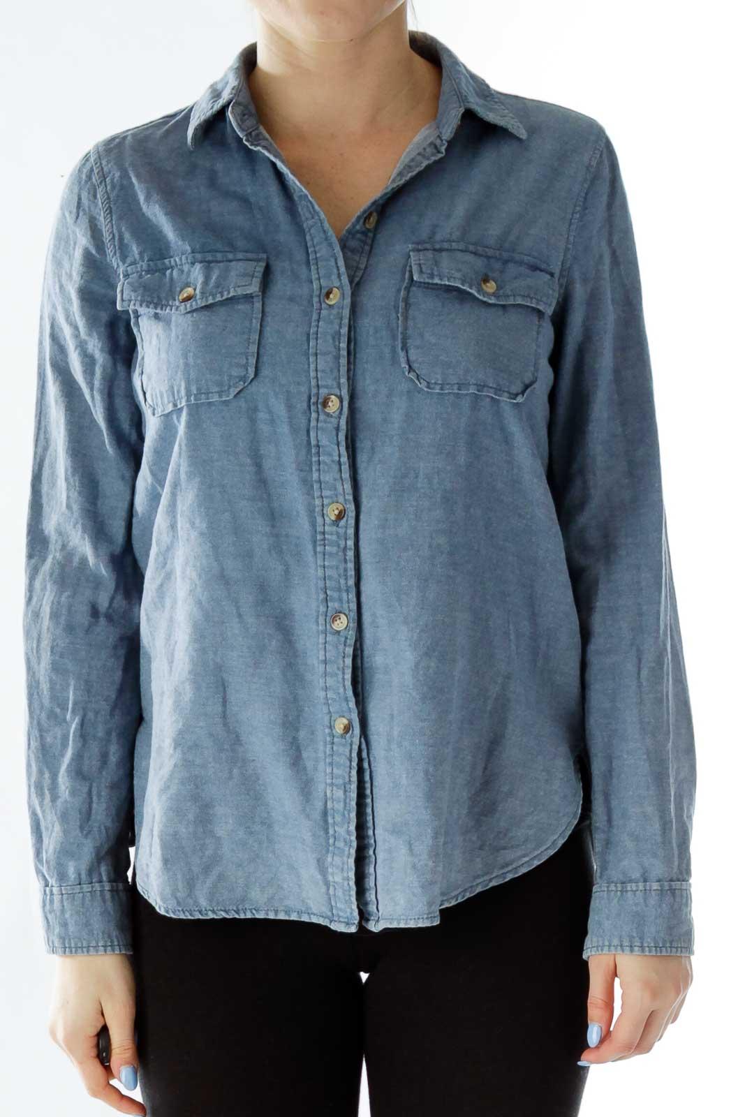 Blue Buttoned Denim Shirt Front