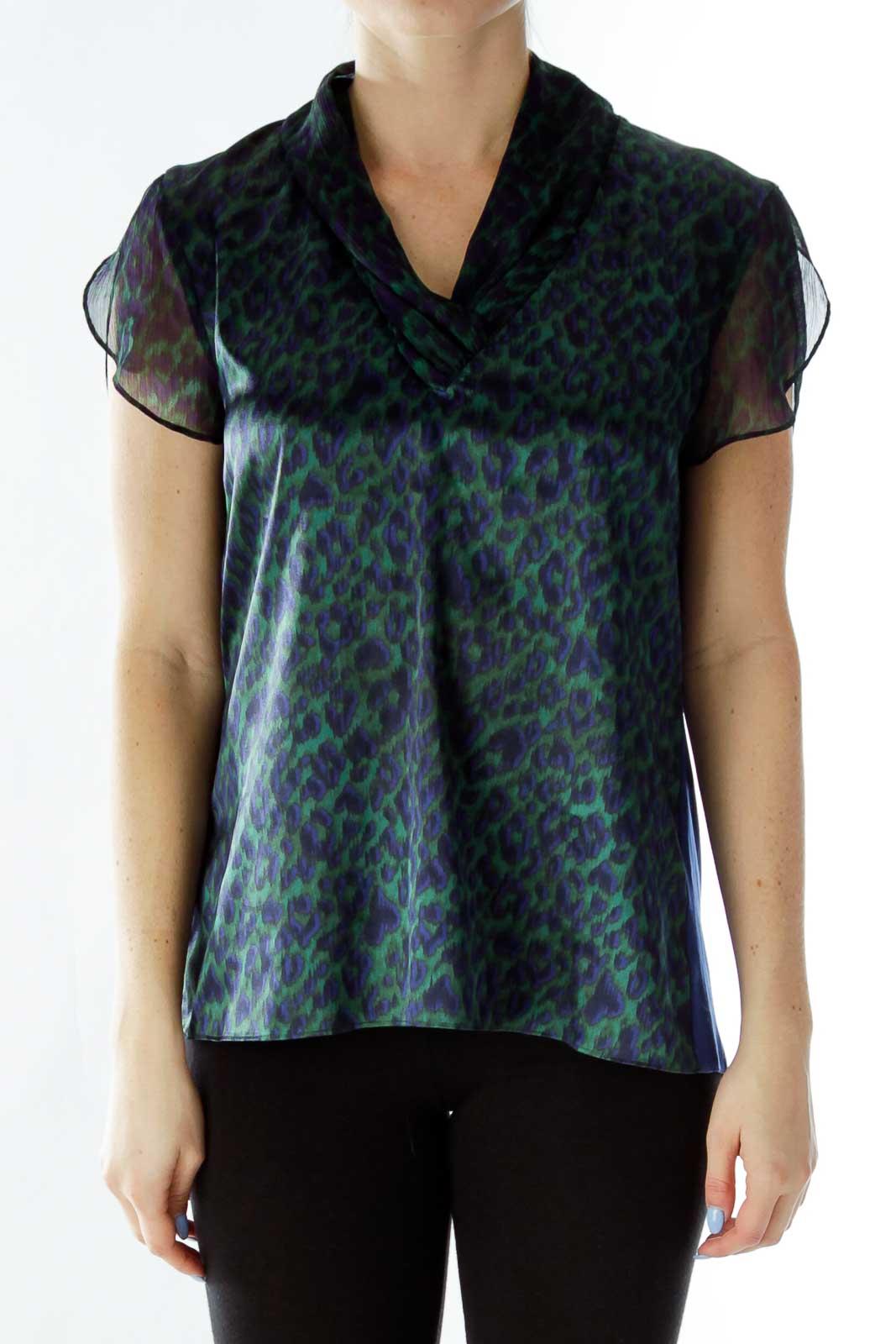 Blue Green Cheetah Print Blouse Front