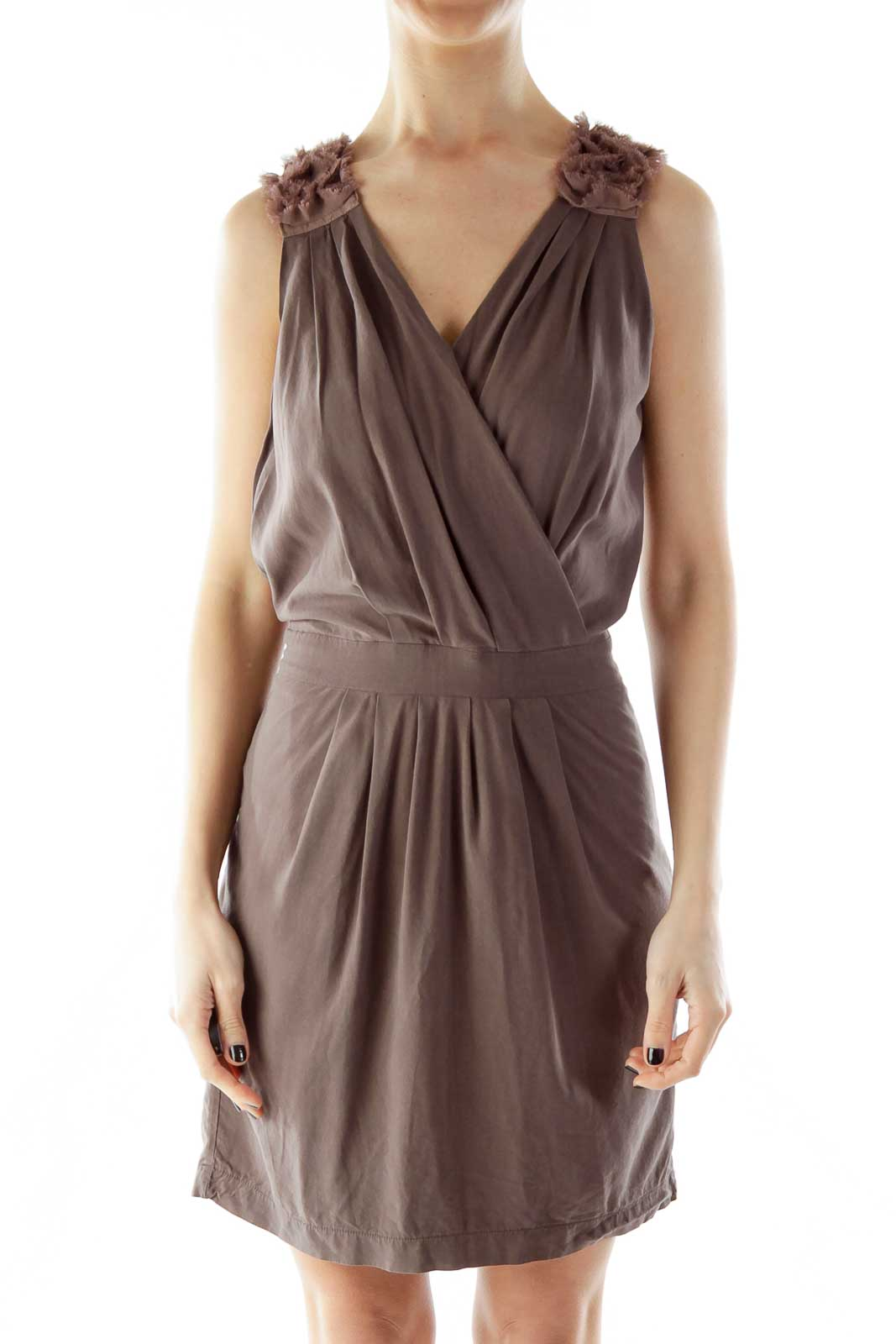 Brown Ruffled Sleeveless Dress Front