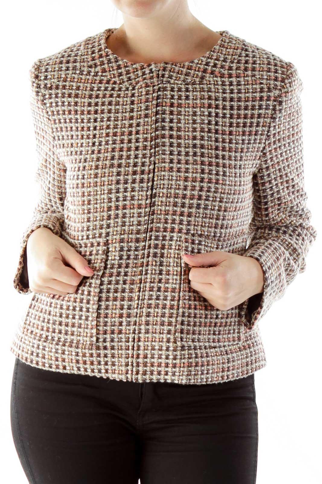 Brown Pink Tweed Jacket Front