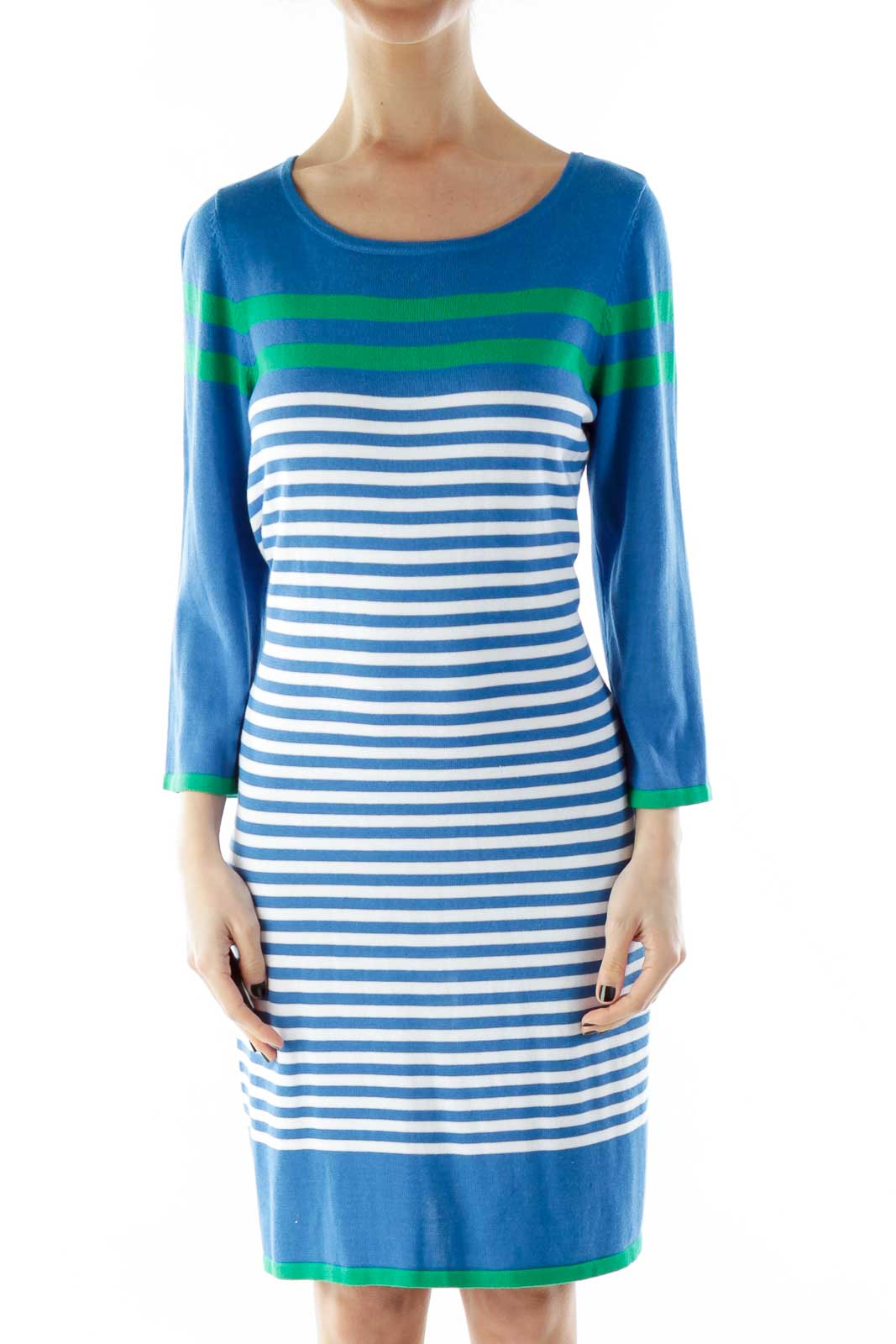 Blue Green Striped Knit Dress Front