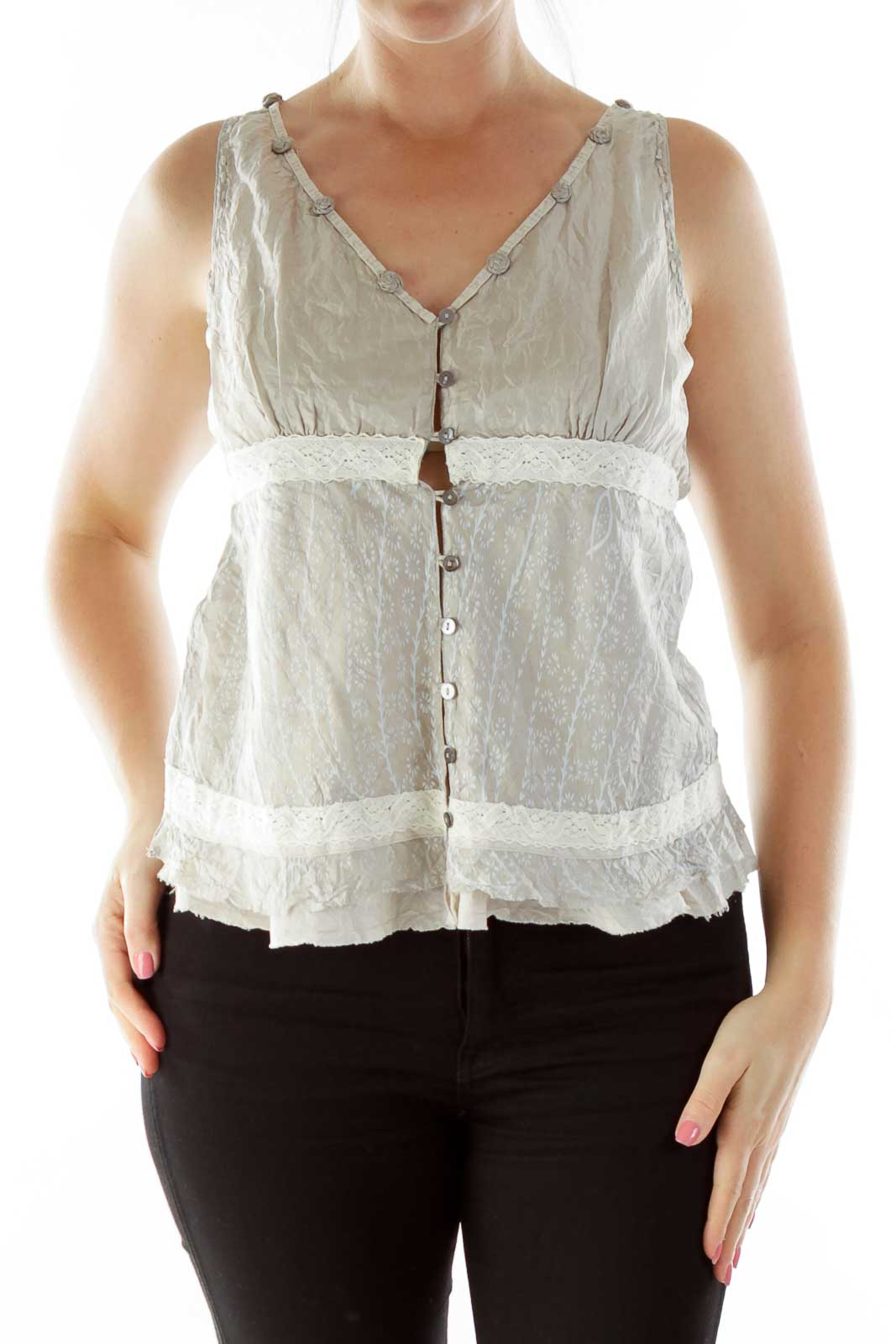 Beige Buttoned Tank Top Front