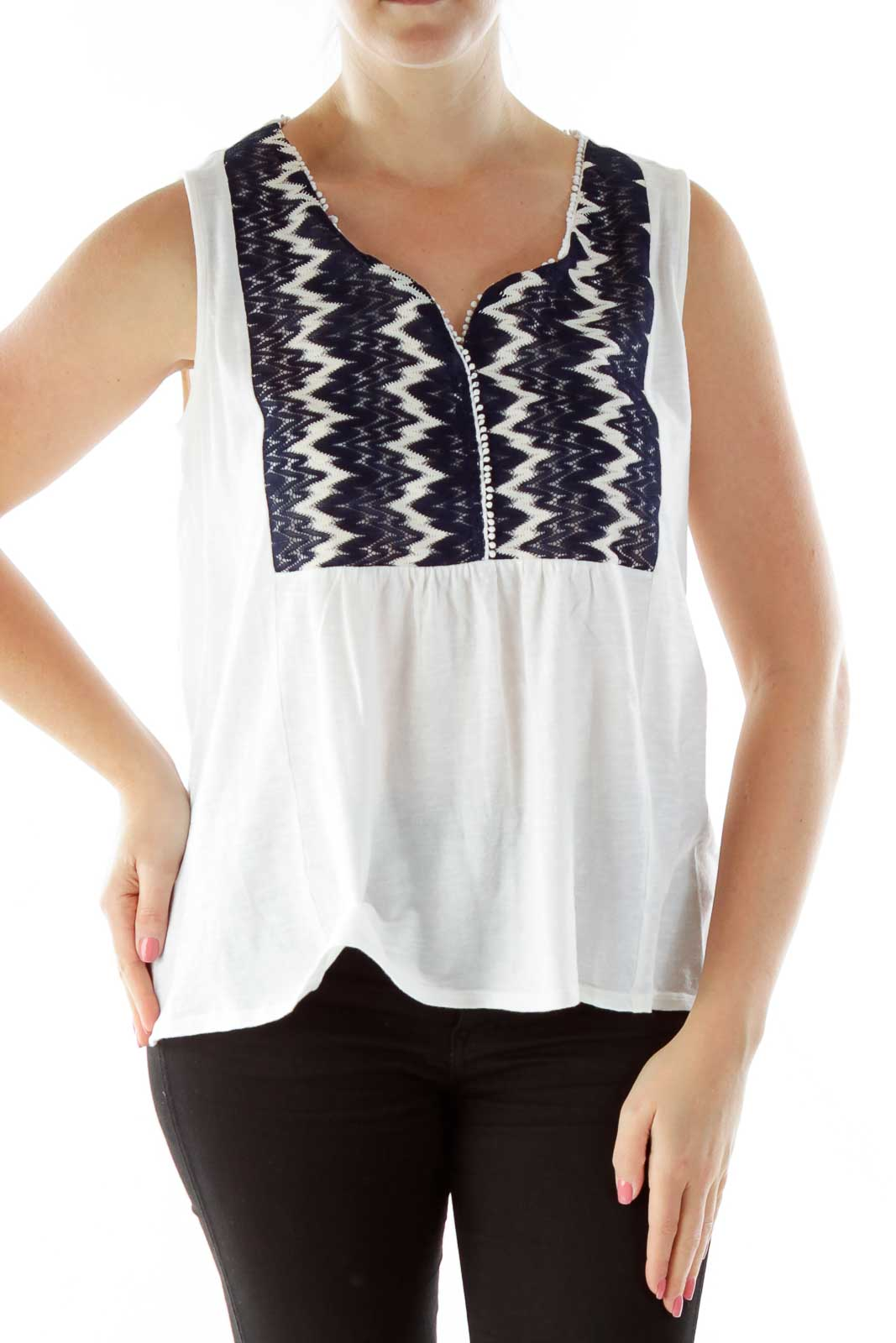 Cream Black Embroidered Loose Tank Top Front