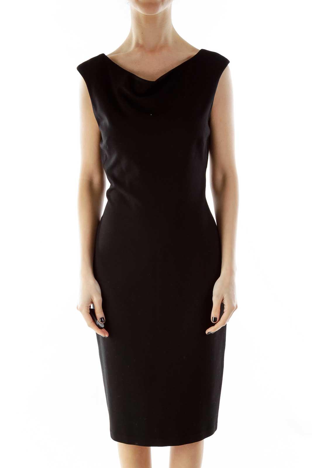 Black Fitted Off-Shoulder Dress Front
