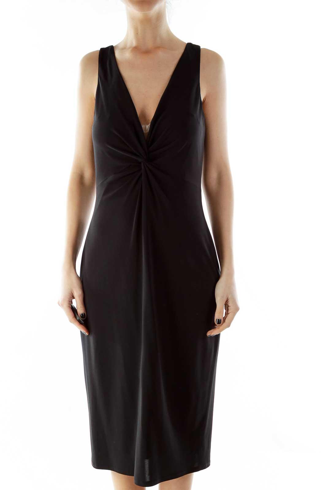 Black V-Neck Cocktail Dress With Knot Front