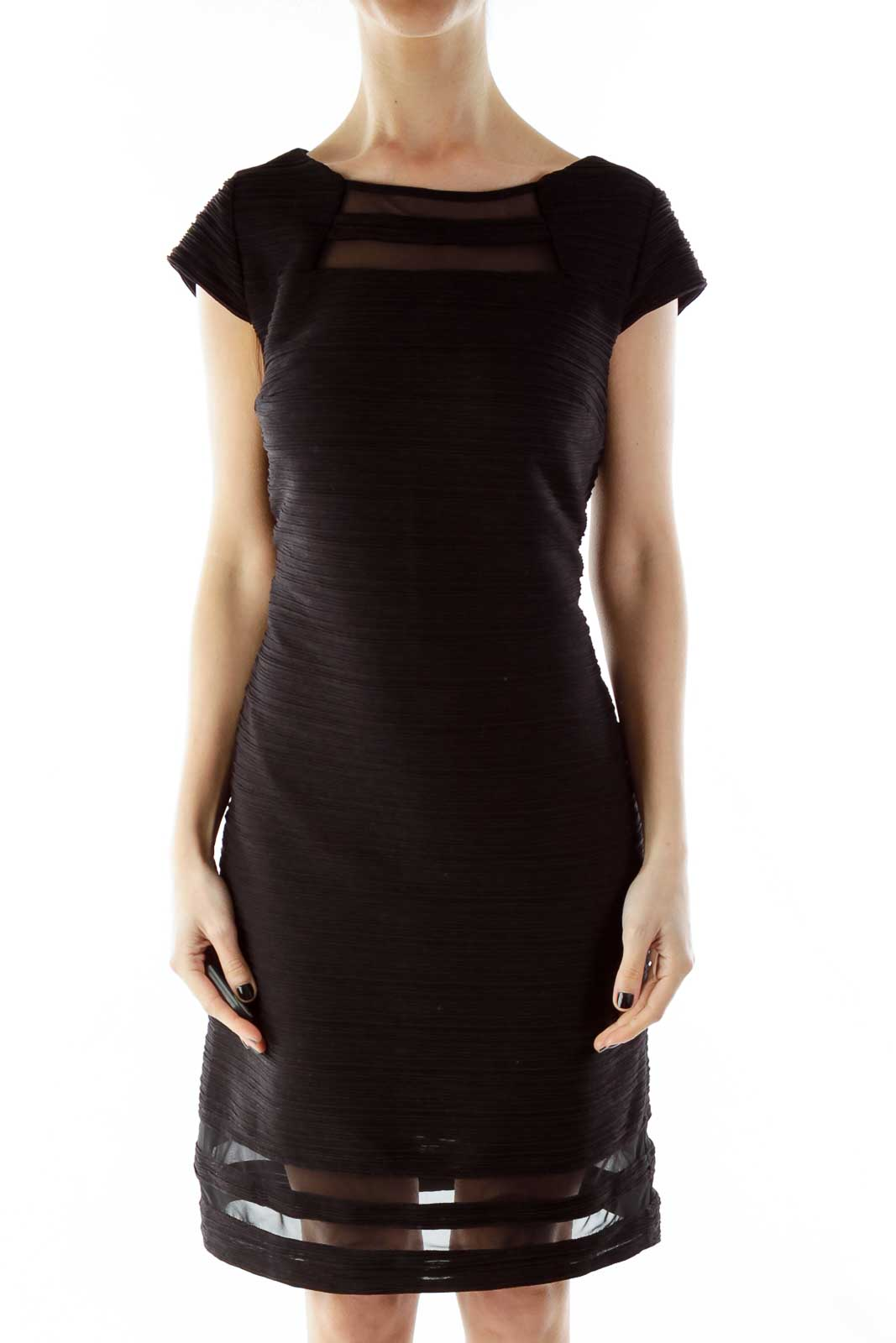 Black Fitted Textured Cocktail Dress Front