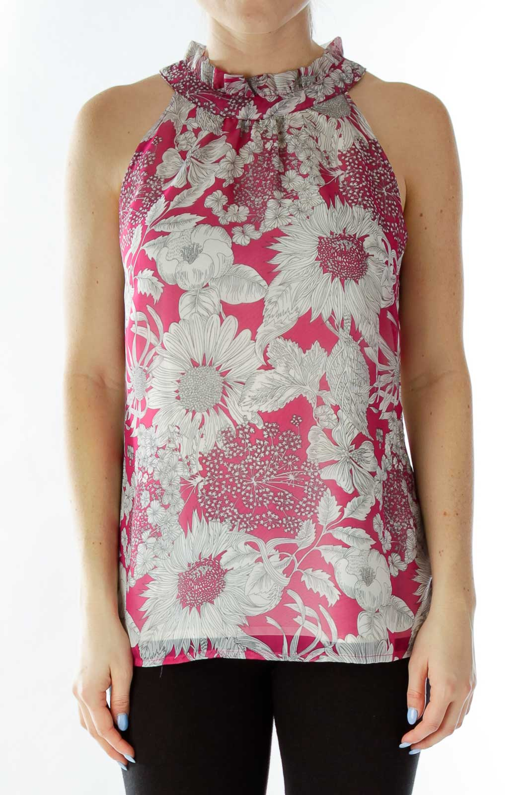 Pink White Flower Layered Halter Blouse Front