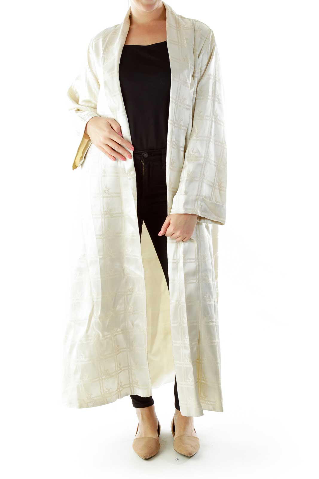 Cream Embroidered Oversized Open Coat Front