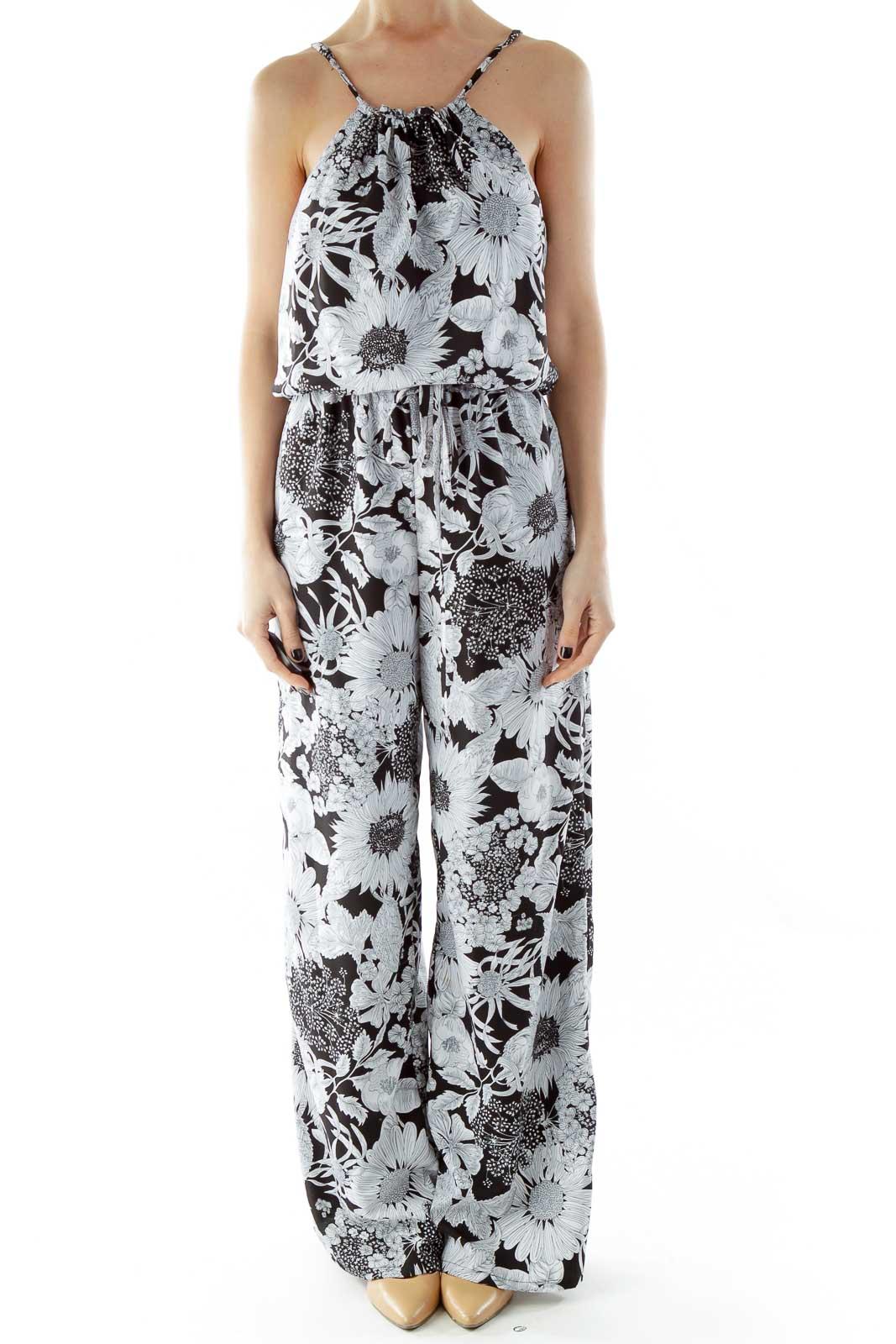 Black White Flower Print Spaghetti Strap Jumpsuit Front