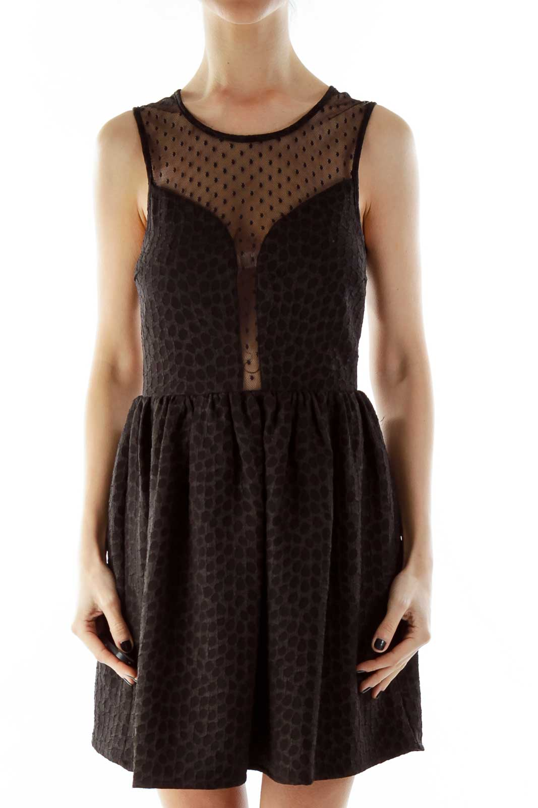 Black Polka-Dot See Through Textured Dress Front