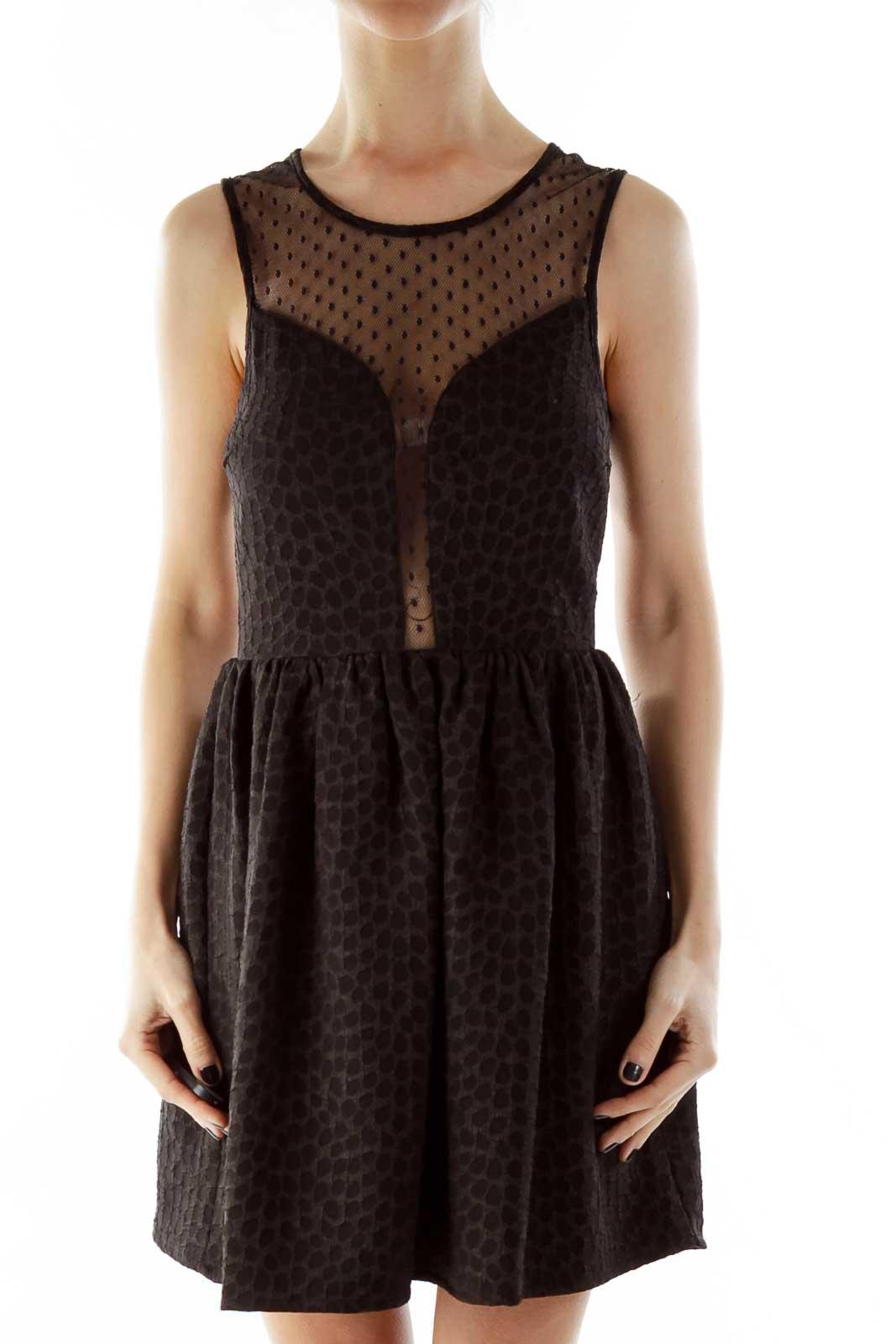 Black Polka-Dot See Through Textured Dress Front