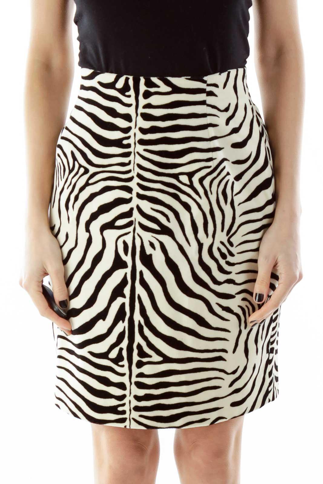 Black White Zebra Print A-Line Skirt Front