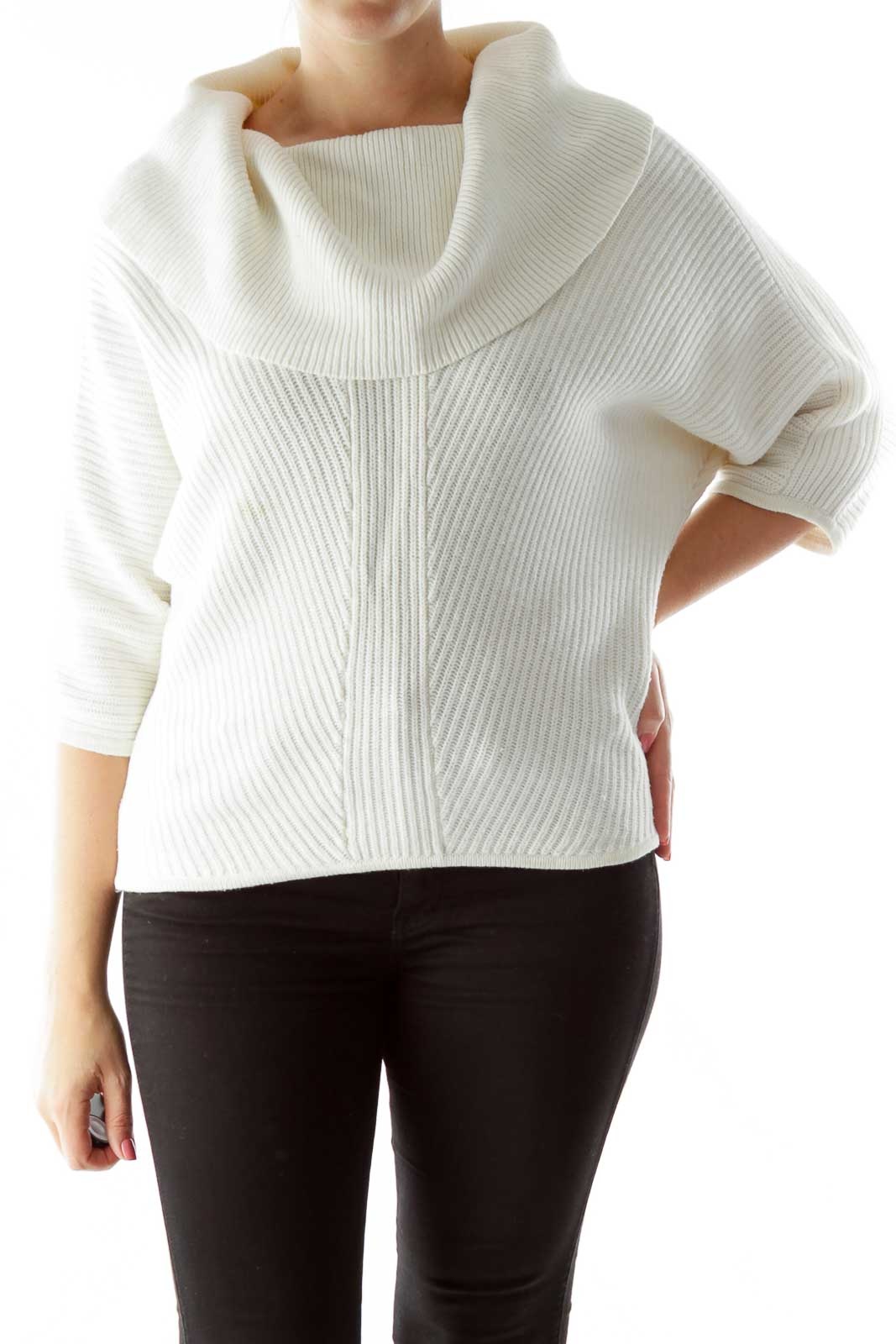 White Cowl Neck Mid-Sleeve Sweater Front