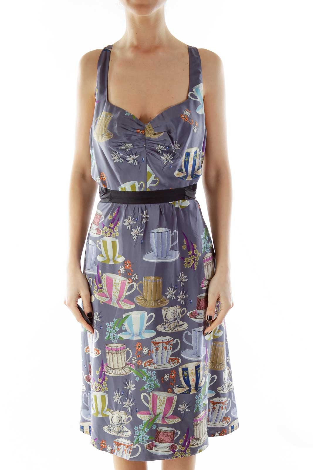 Purple Multicolor Print Belted Empire Dress Front