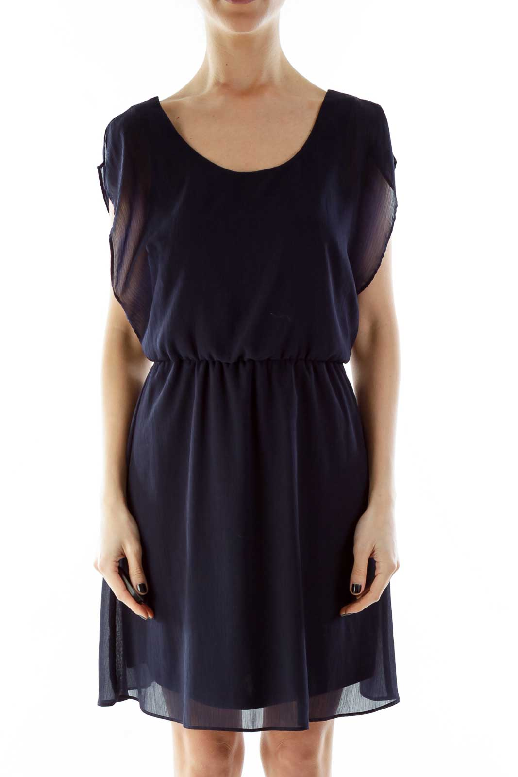 Navy Textured Day Dress Front