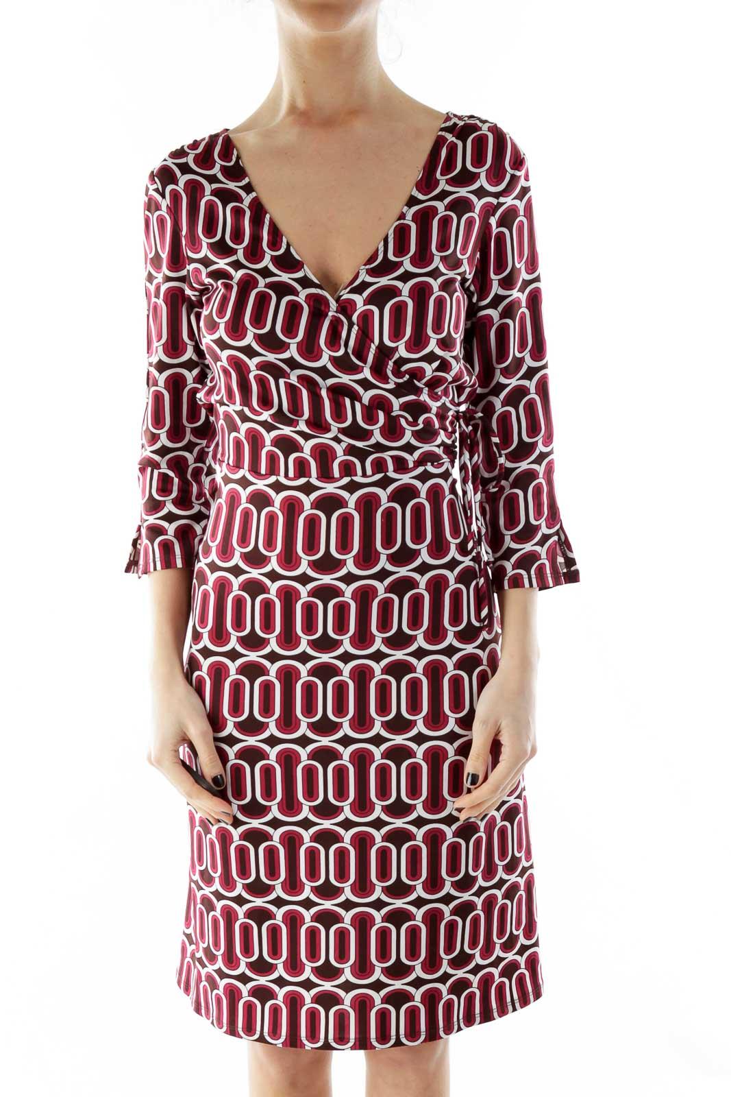 Red White V-Neck Geometric Print Wrap Dress Front