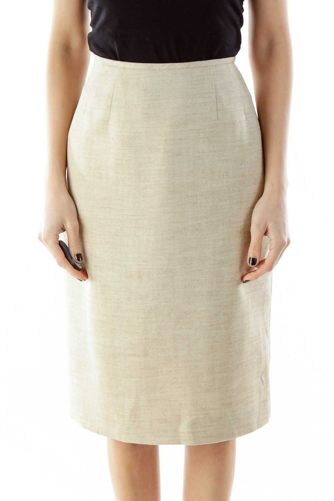 Beige Mottled Pencil Skirt Front