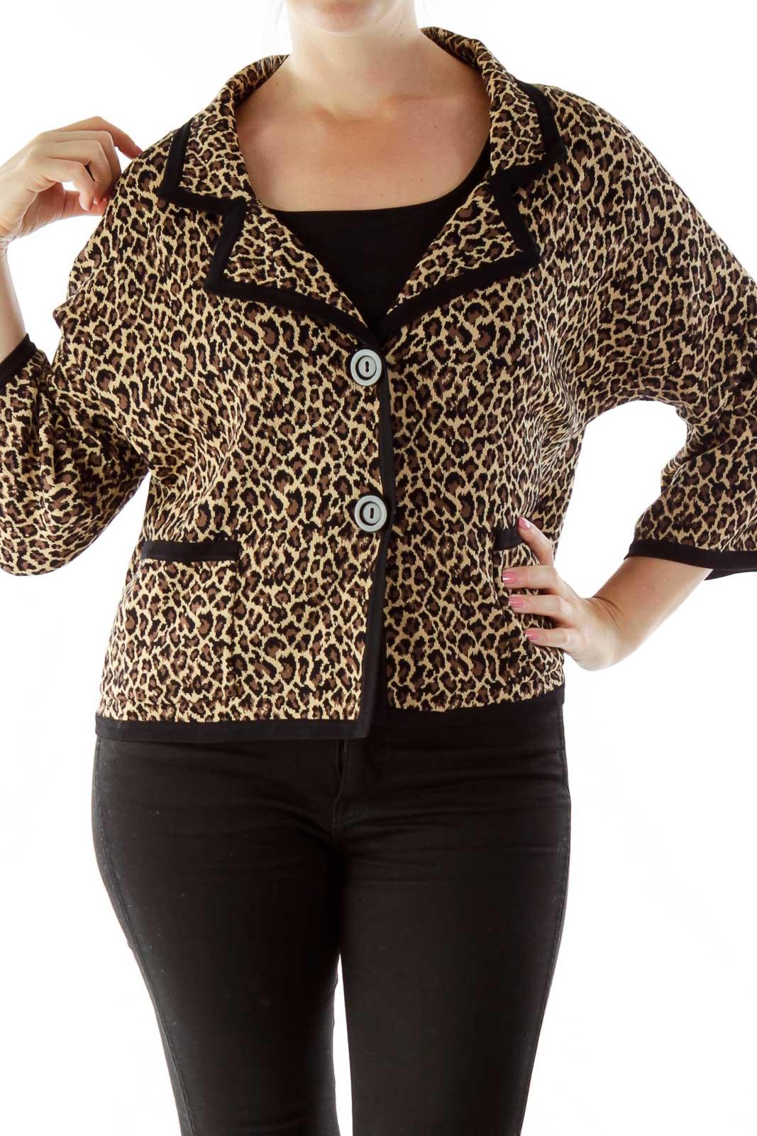 Brown Black Cheetah Blazer Front