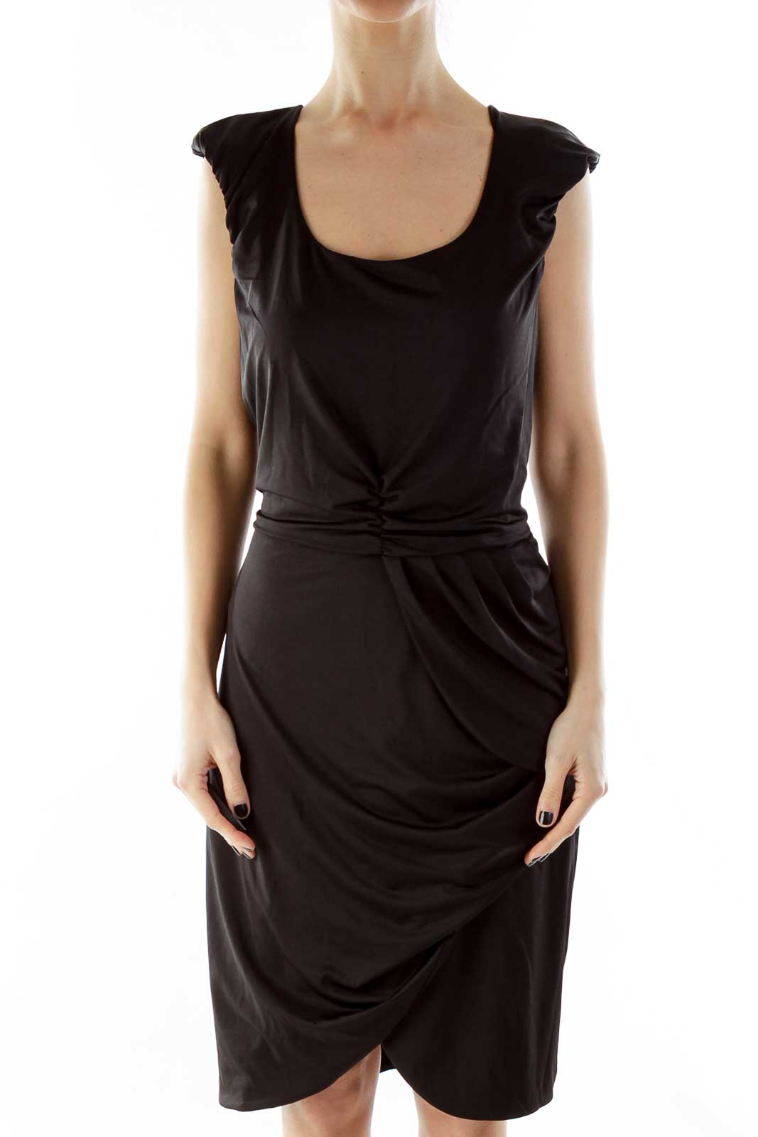 Black Wrap Layered Cocktail Dress Front