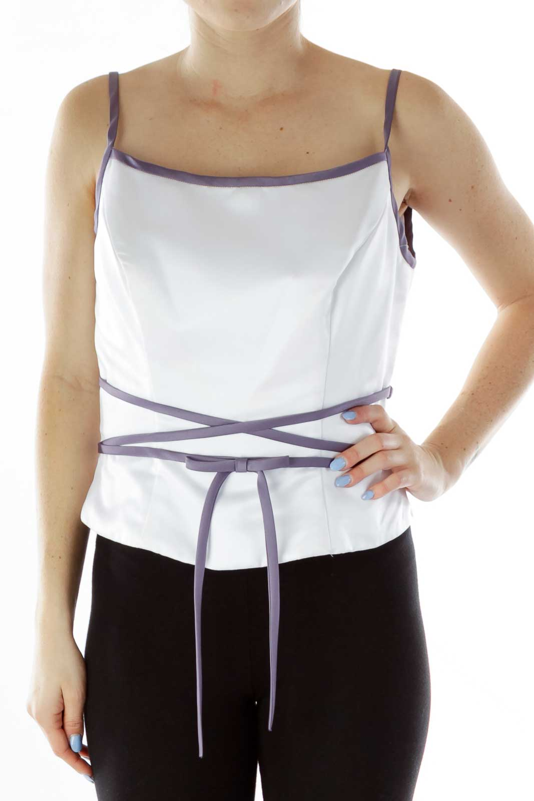White Purple Spaghetti Strap Top with Bow Detail Front